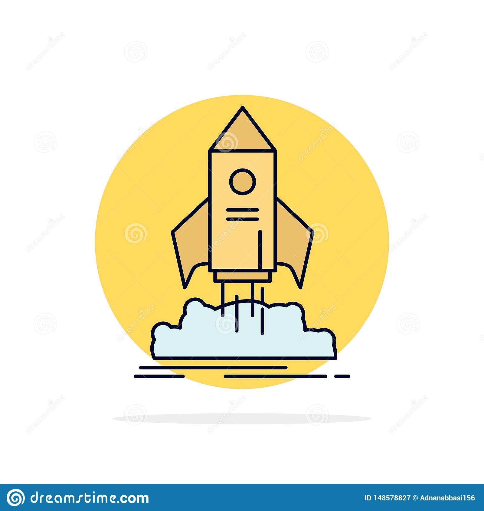 launch, startup, ship, shuttle, mission Flat Color Icon Vector