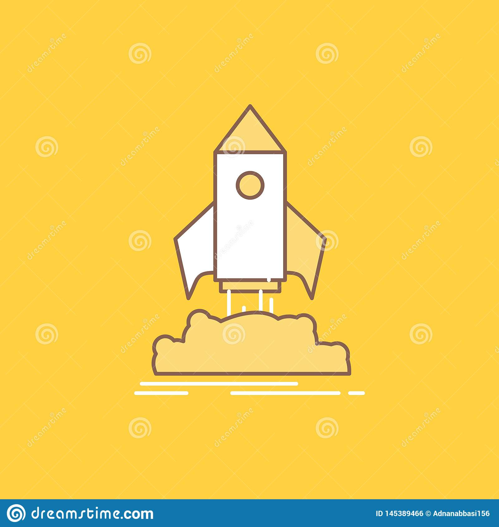 launch, startup, ship, shuttle, mission Flat Line Filled Icon. Beautiful Logo button over yellow background for UI and UX, website