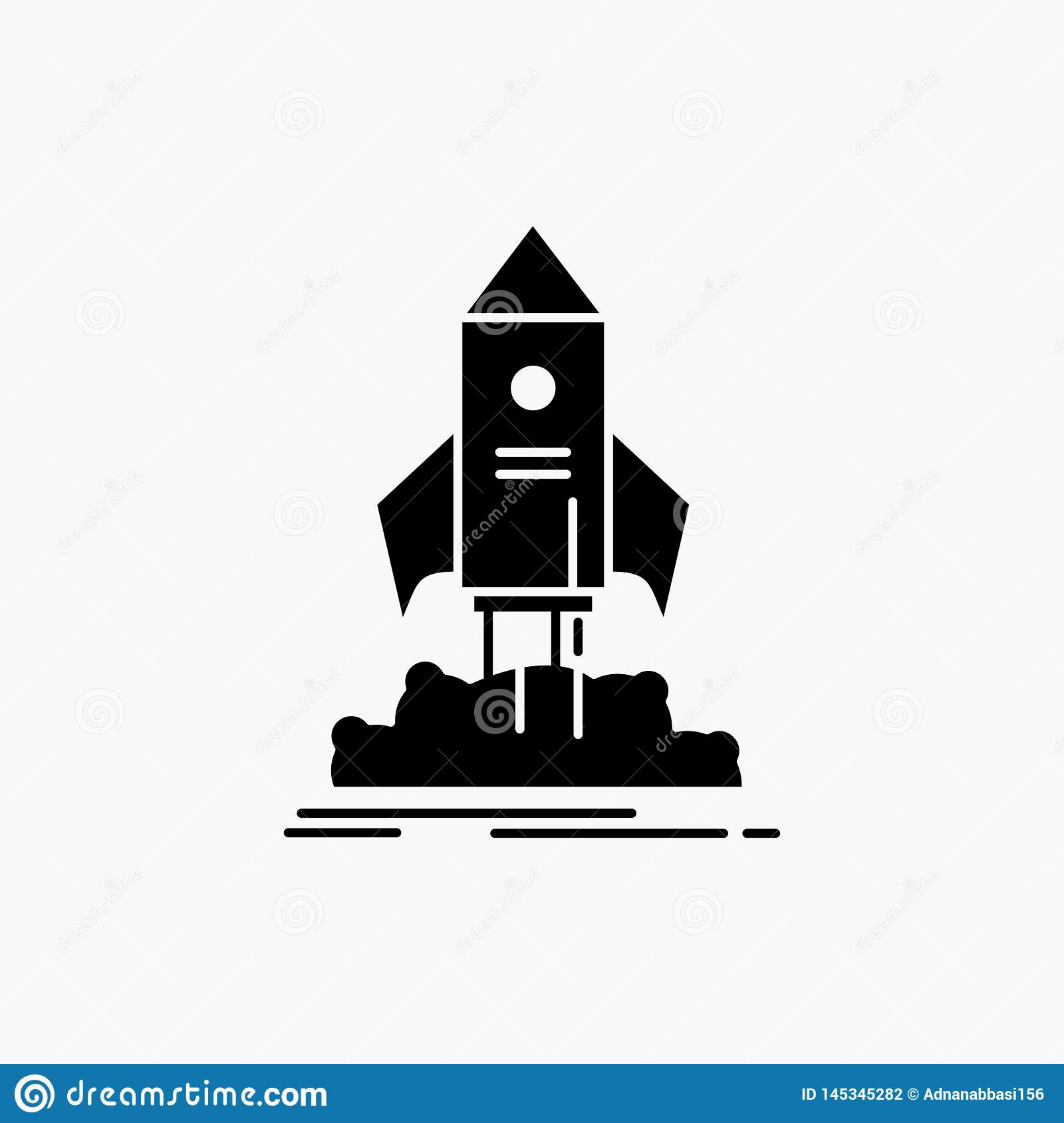 launch, startup, ship, shuttle, mission Glyph Icon. Vector isolated illustration