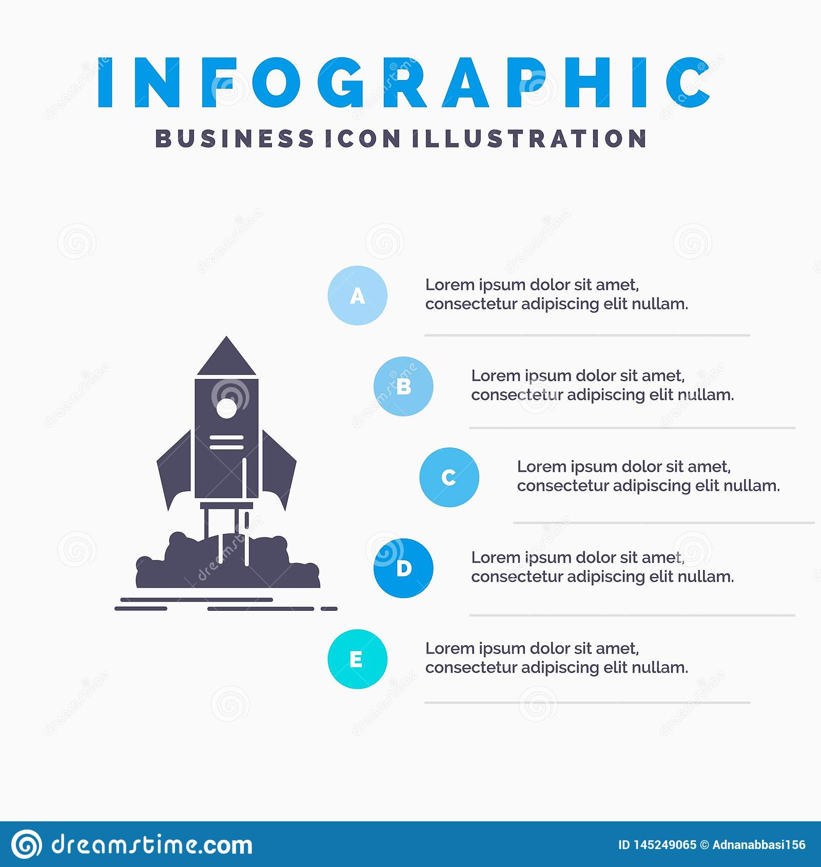 launch, startup, ship, shuttle, mission Infographics Template for Website and Presentation. GLyph Gray icon with Blue infographic