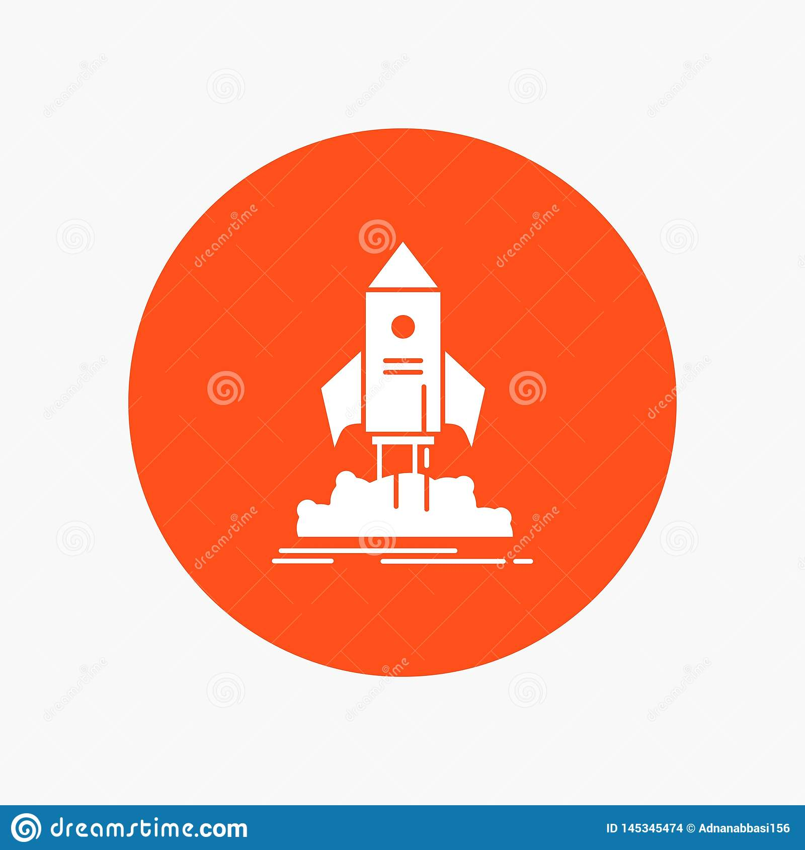 launch, startup, ship, shuttle, mission White Glyph Icon in Circle. Vector Button illustration