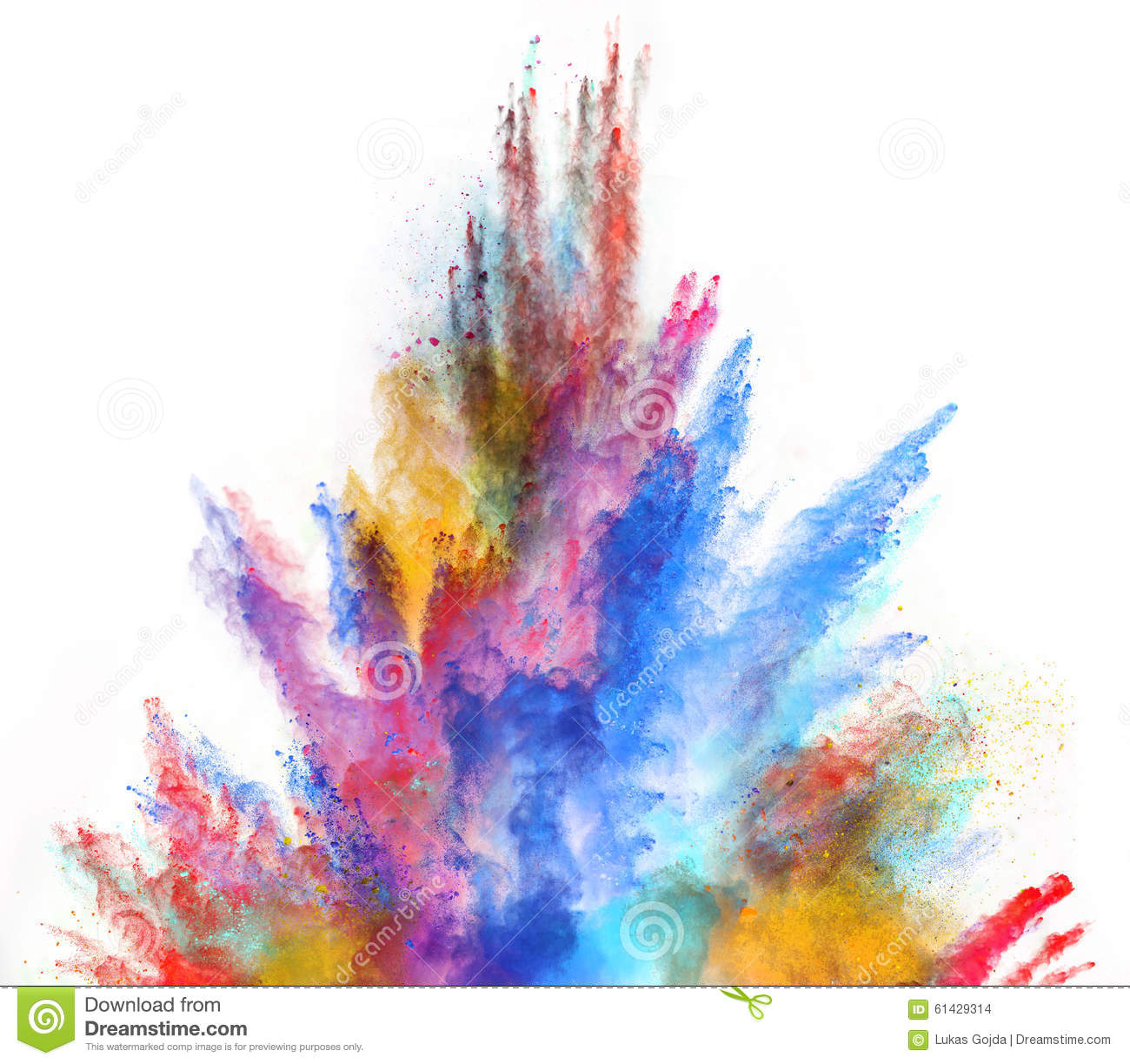 Launched Colorful Powder On White Background Stock Photo Image 61429314