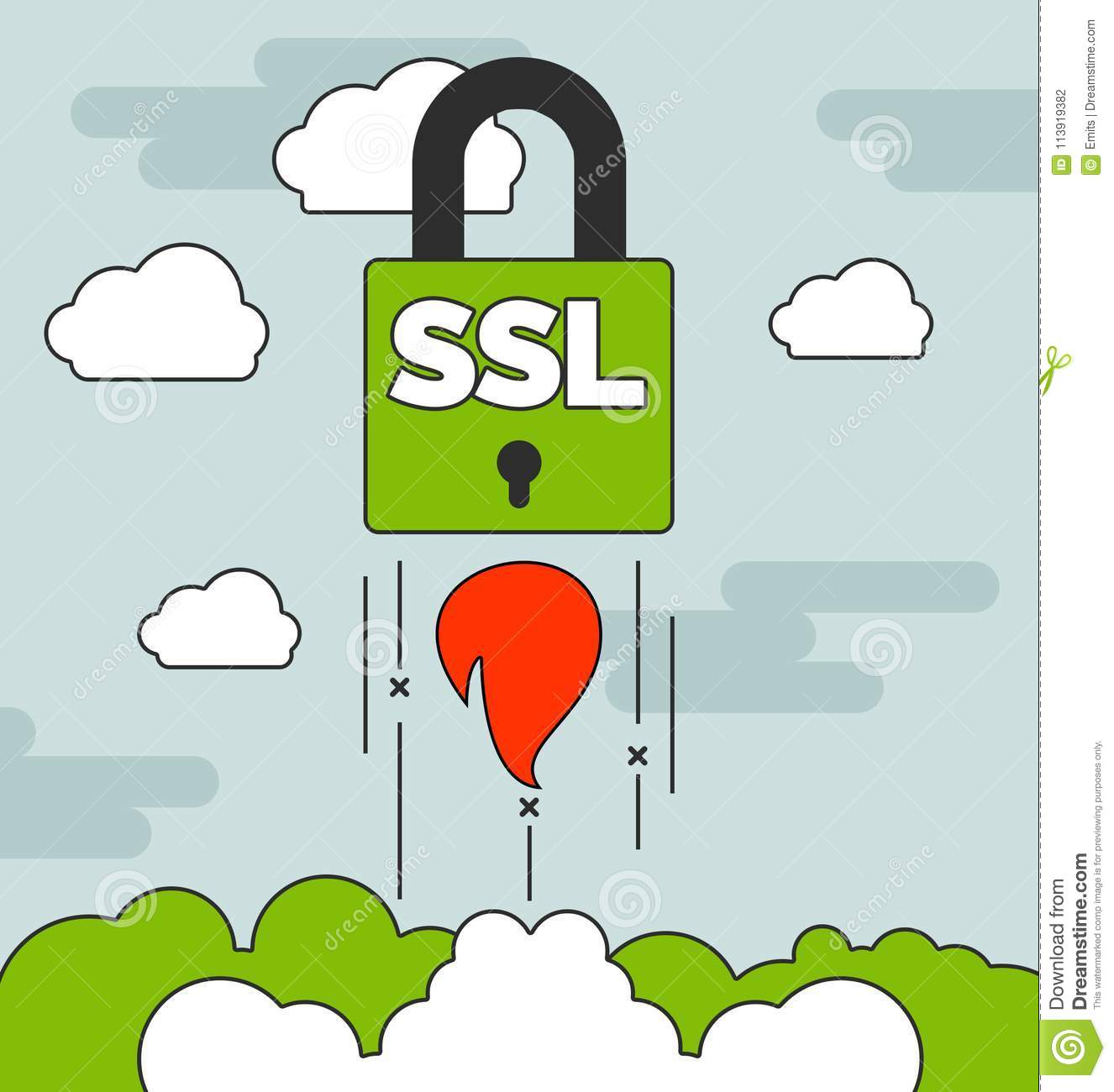 Launching Ssl Secure Website Concepts With Stock Illustration