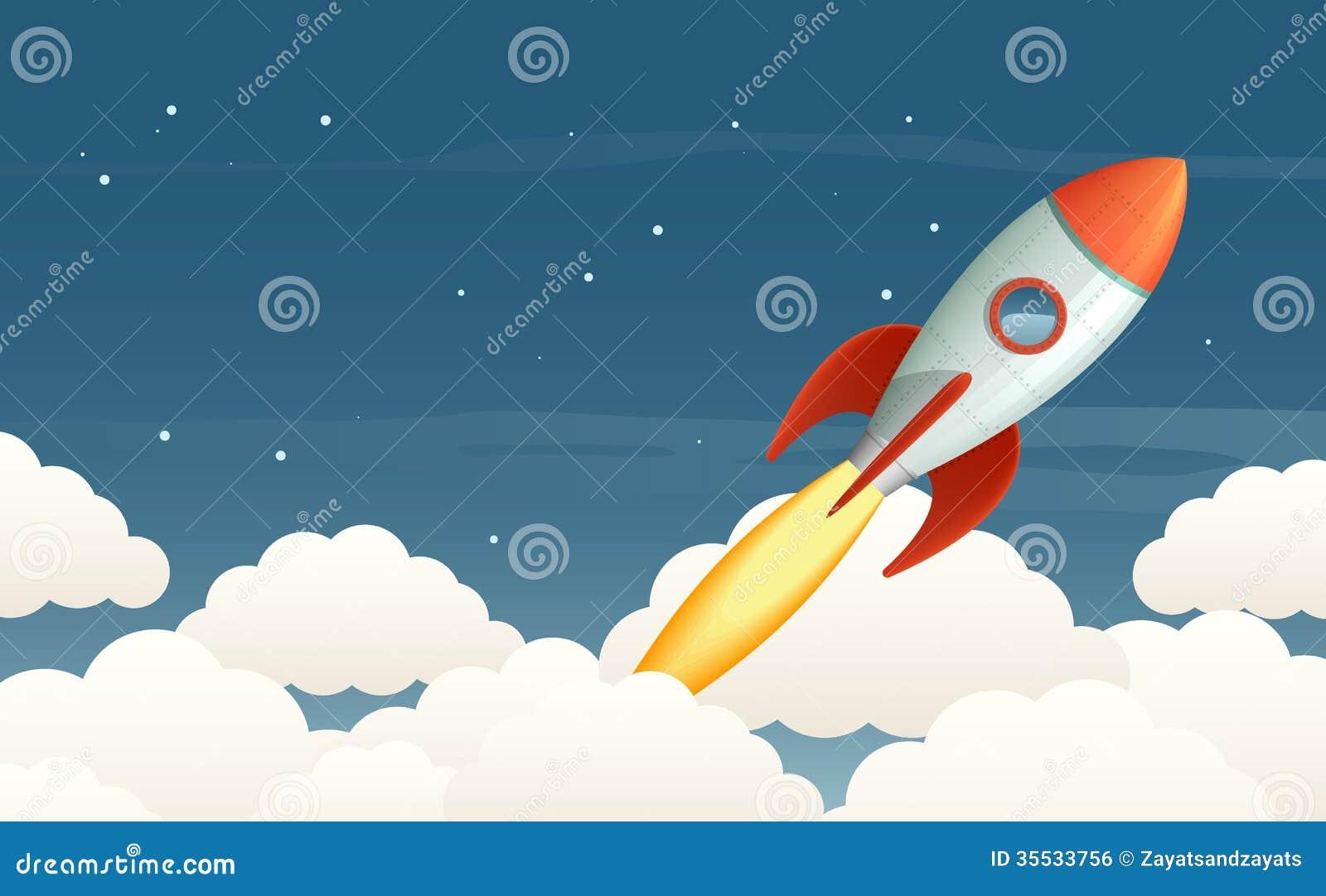 flying rocket clip art