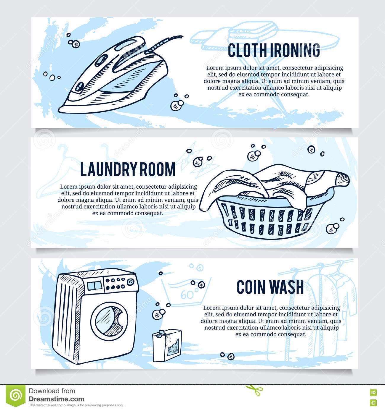 Laundry banners or website header set for service stock for Ironing service flyer template