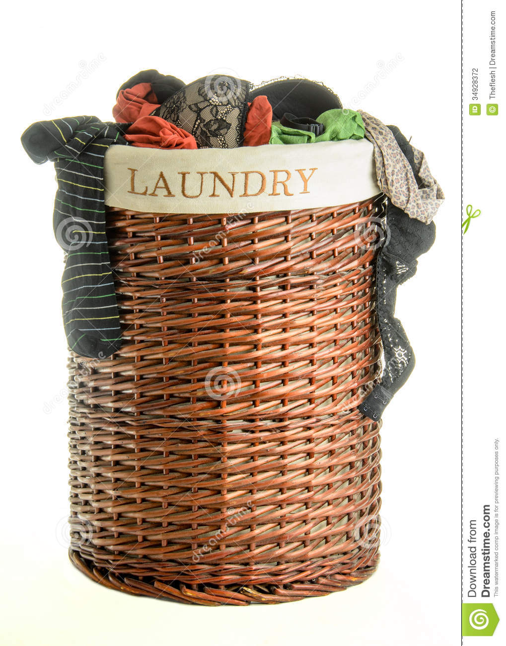 Laundry basket with clothes stock photography image 34928372 - Hamper for dirty clothes ...