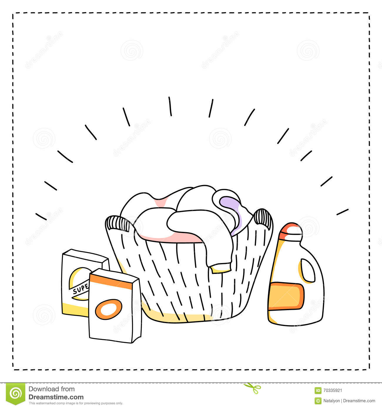 Laundry basket, detergents, vector illustration