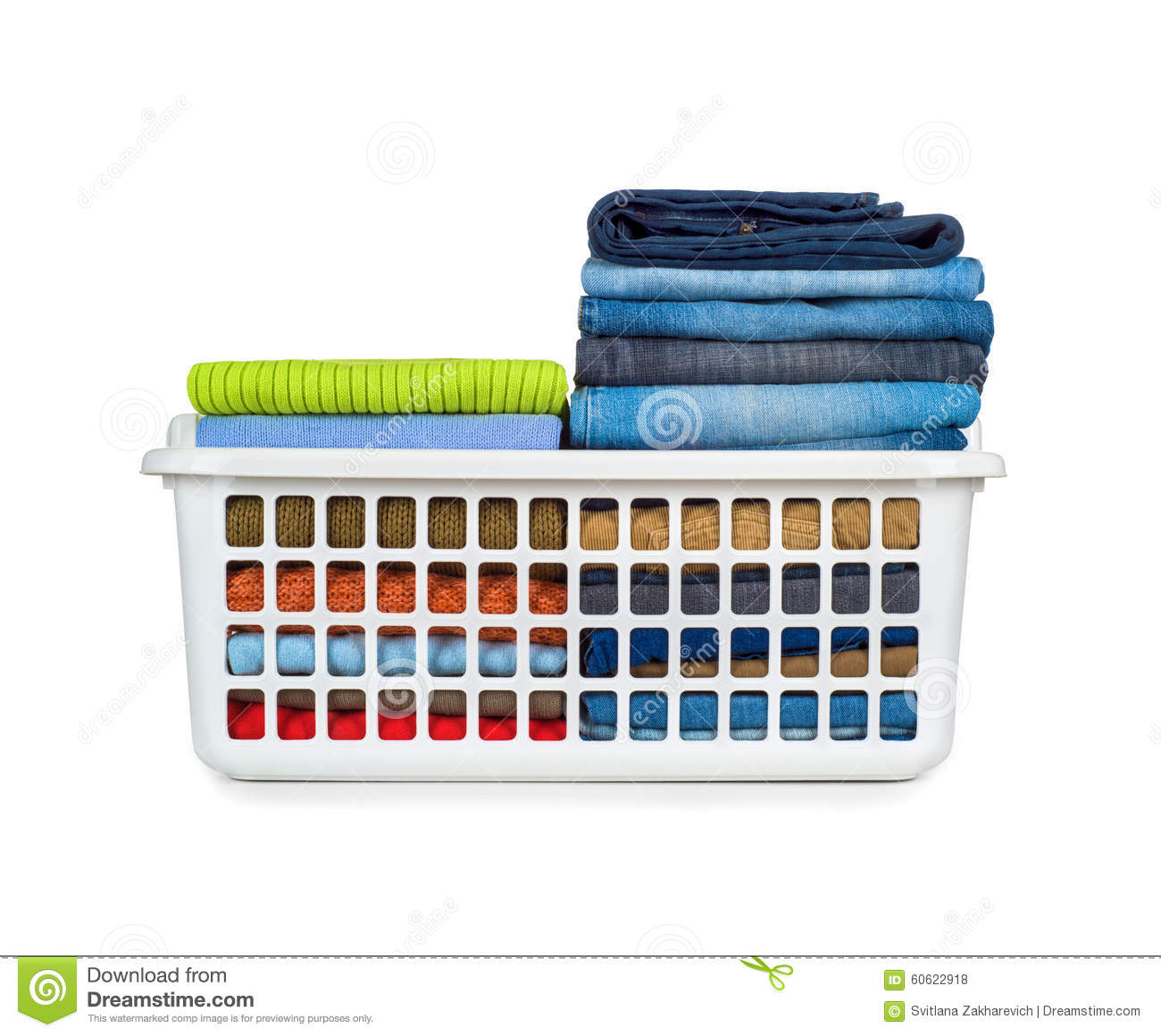 laundry basket with folded clothes stock photo image of