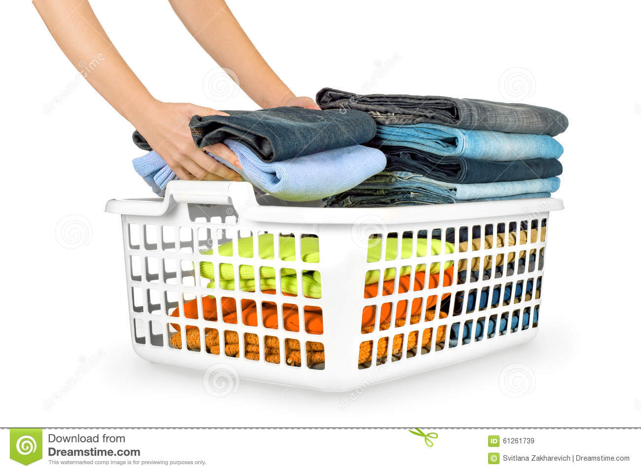 laundry basket with folded clothes stock image image of