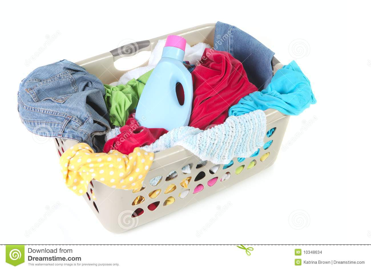 Laundry Basket Full Of Dirty Clothes And Softener Stock ...