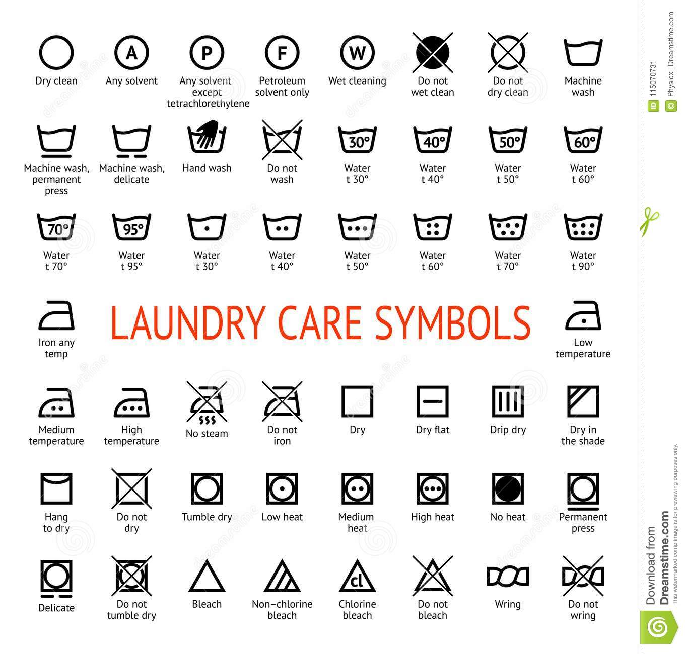 Laundry Care Symbols  Cleaning Icons Set Stock Vector