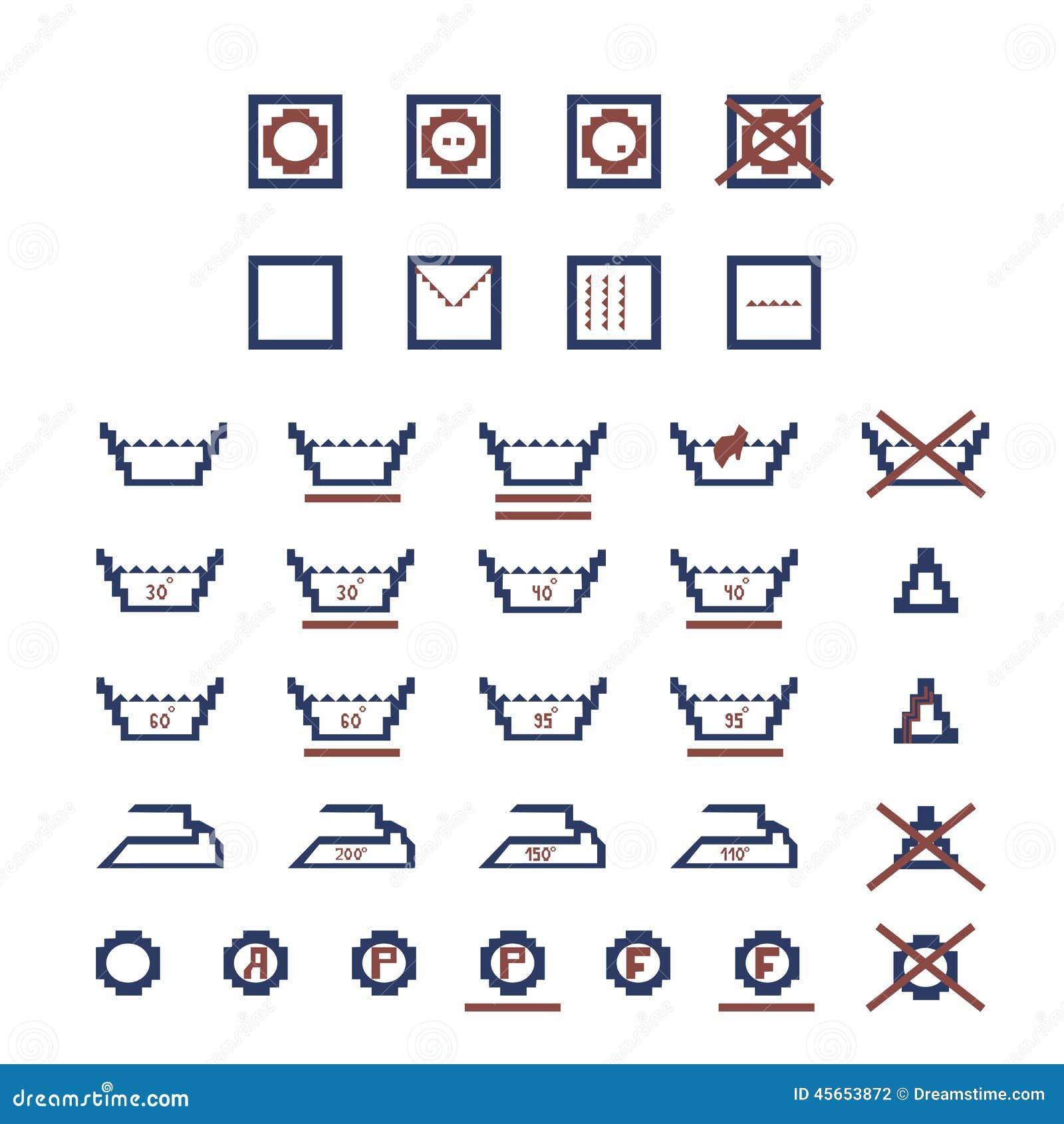 Laundry Care Symbols Stock Vector Illustration Of Label 45653872
