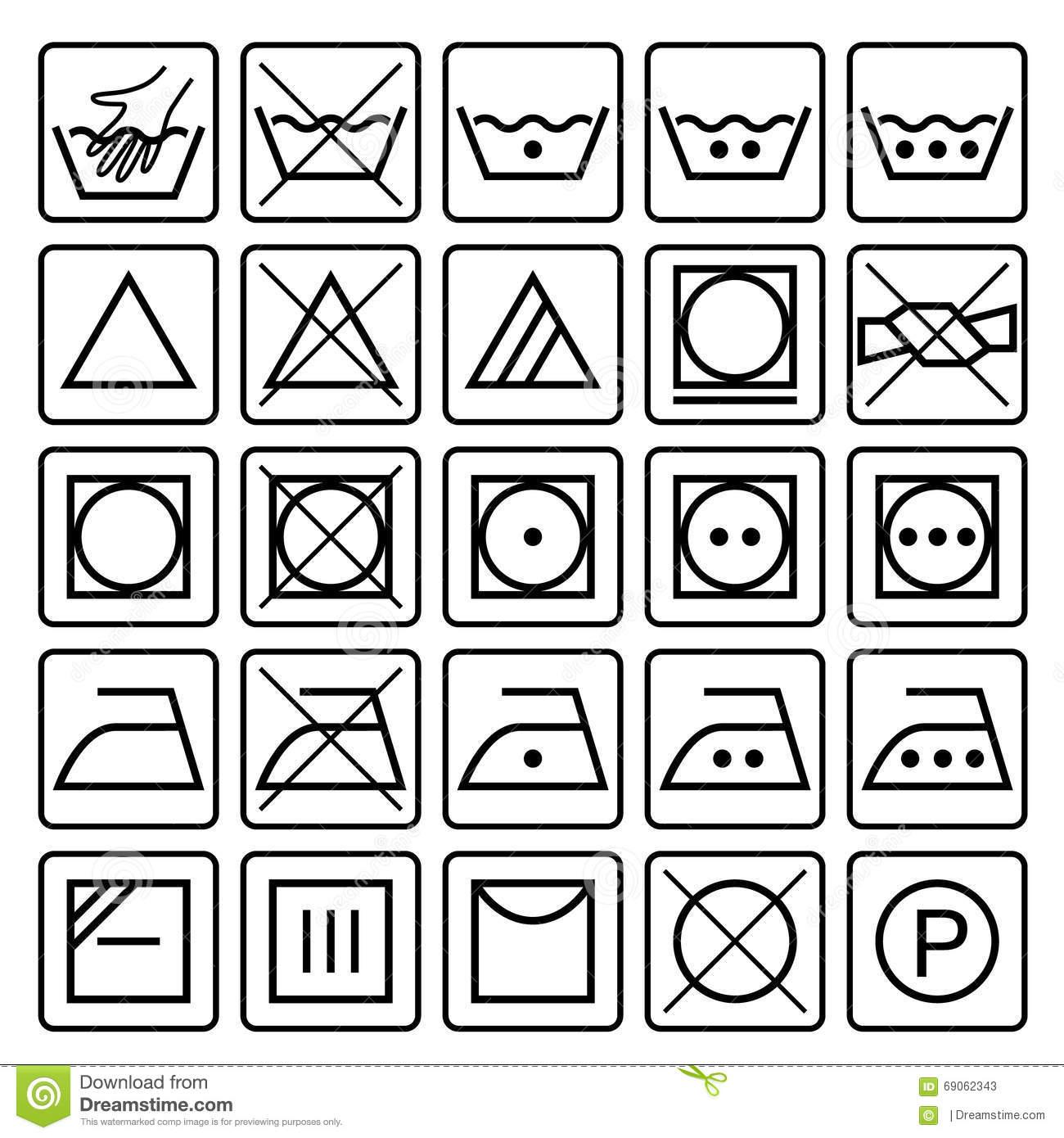 Laundry Care Symbols Textile Care Icons Stock Vector