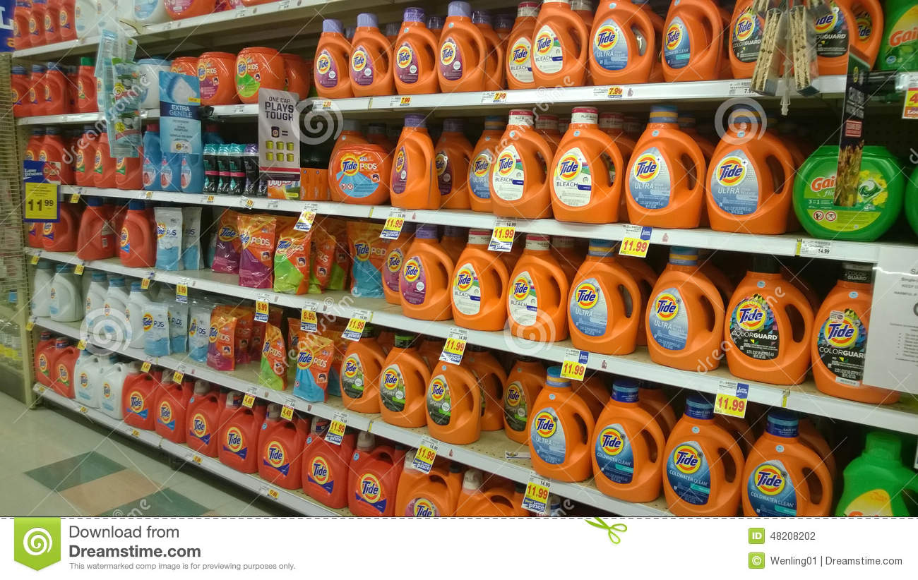 Laundry detergent selling at supermarket
