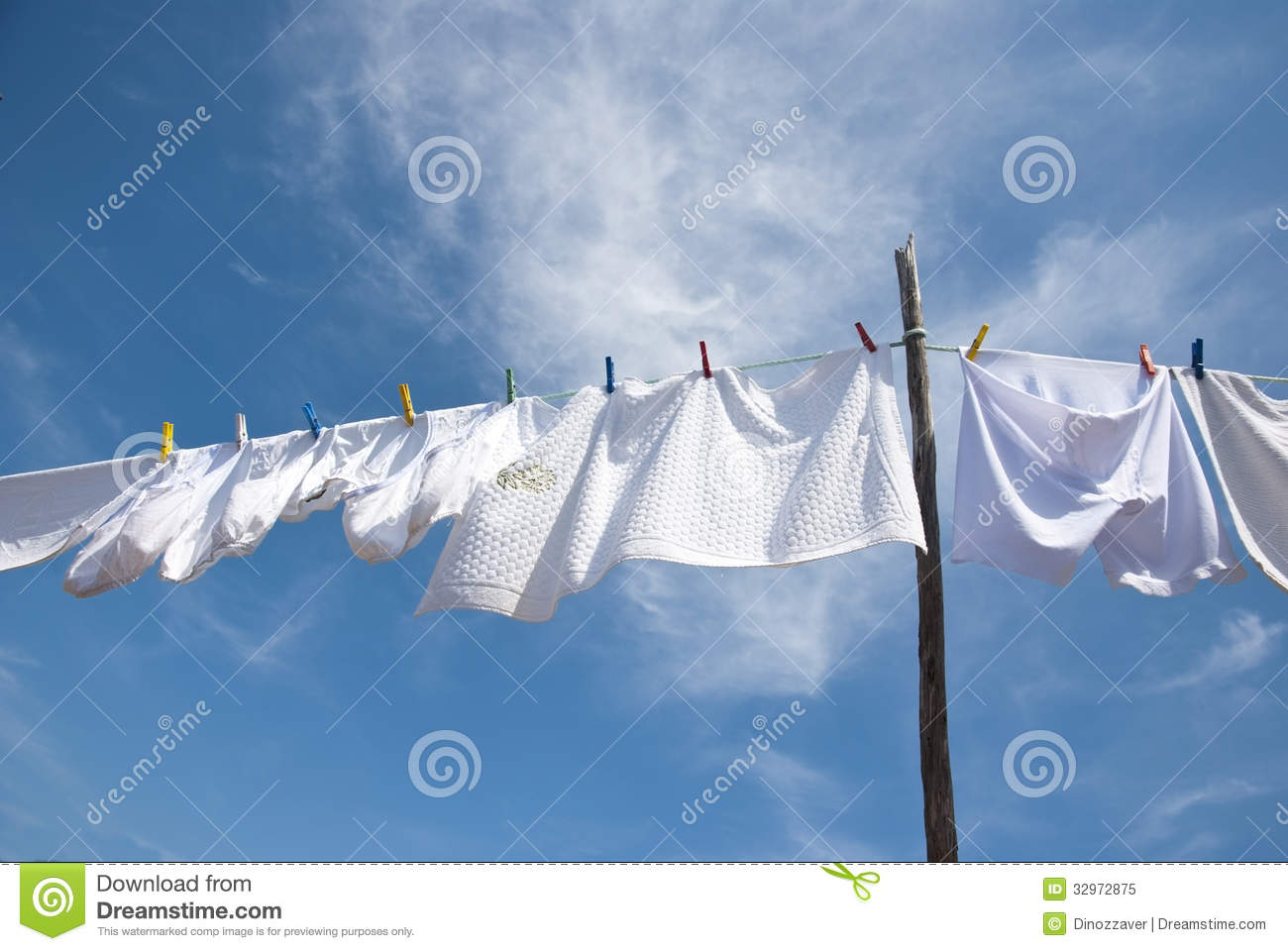 Laundry Drying On The Rope Outside Stock Image Image Of