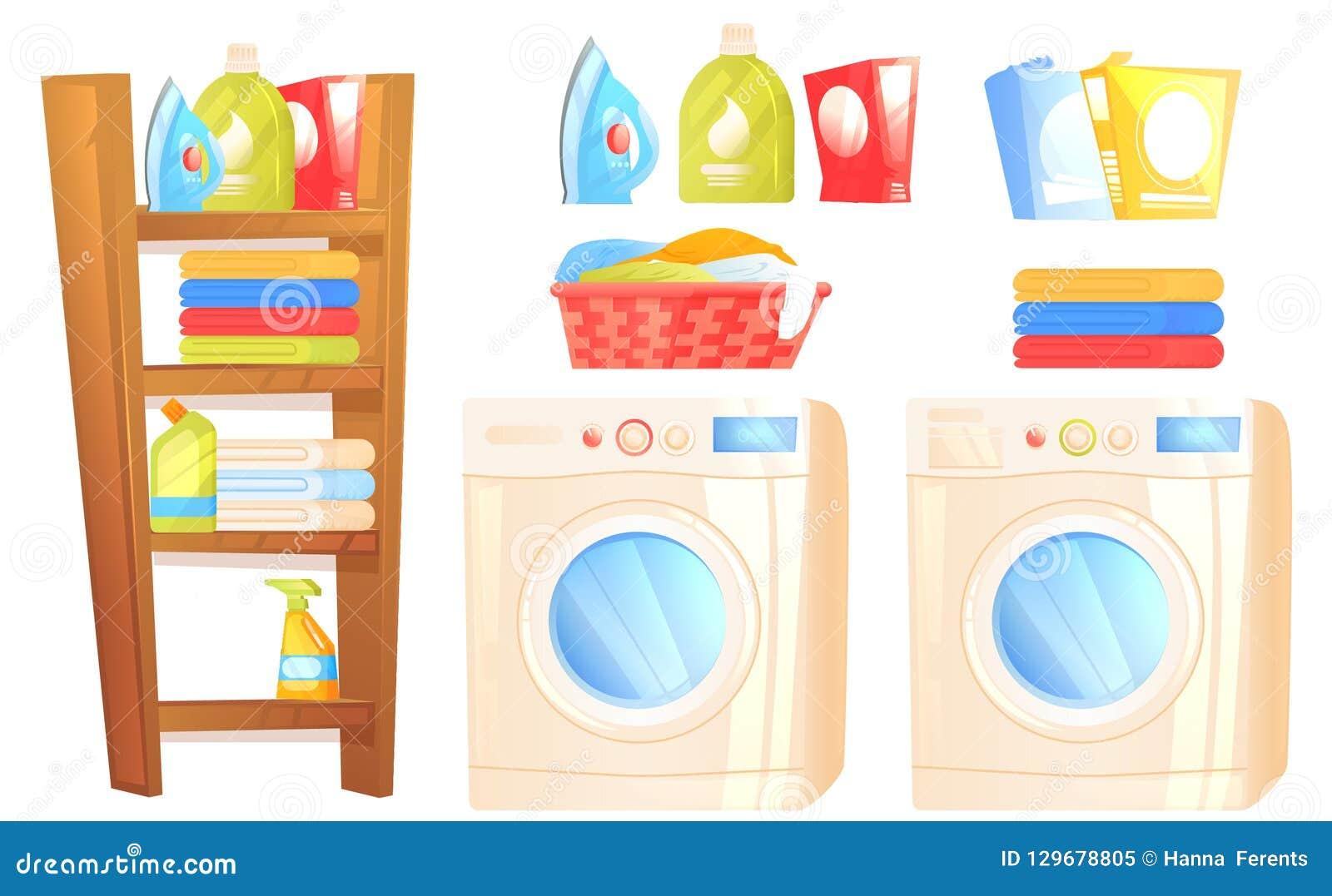 Laundry Furniture Object  Washer Machine, Iron, Washing Powder