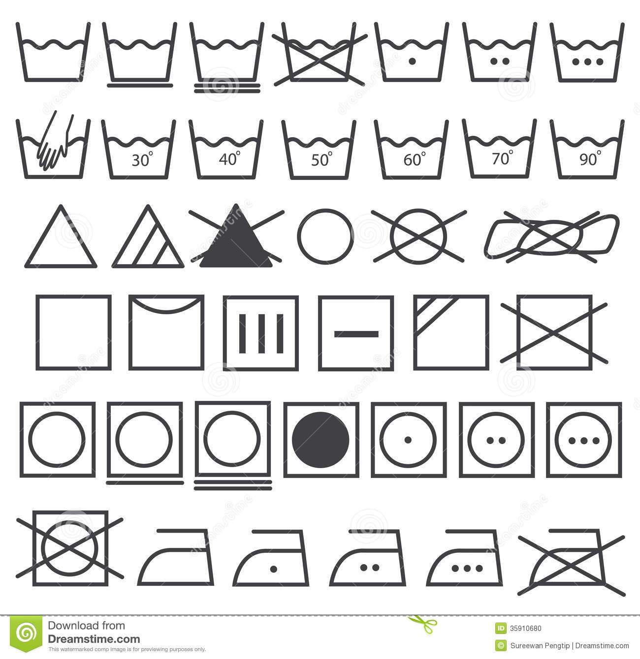 laundry icons vector set washing symbol stock vector