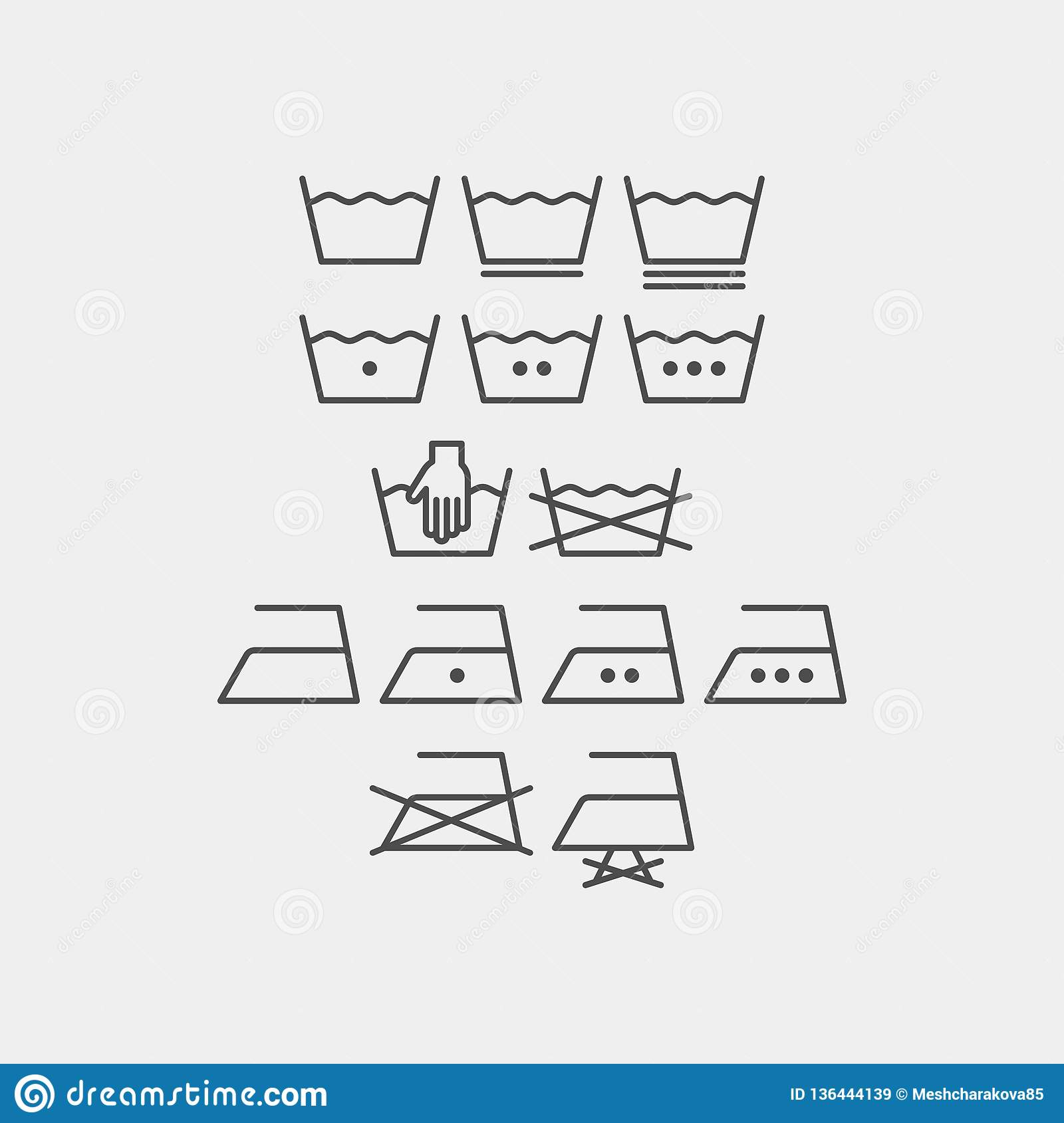 Laundry And Ironing Vector Symbols  Machine Wash Flat Vector