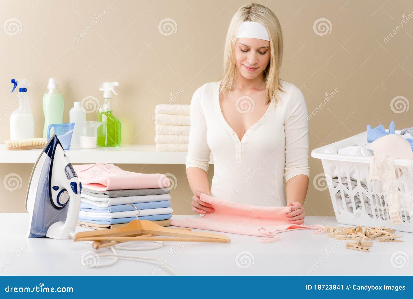Laundry Ironing Woman Folding Clothes Stock Image
