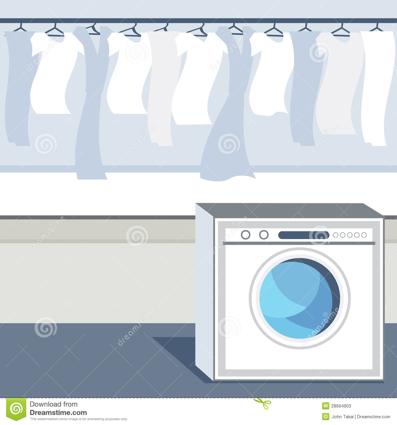 Laundry Service Drawing Vector Illustration ...