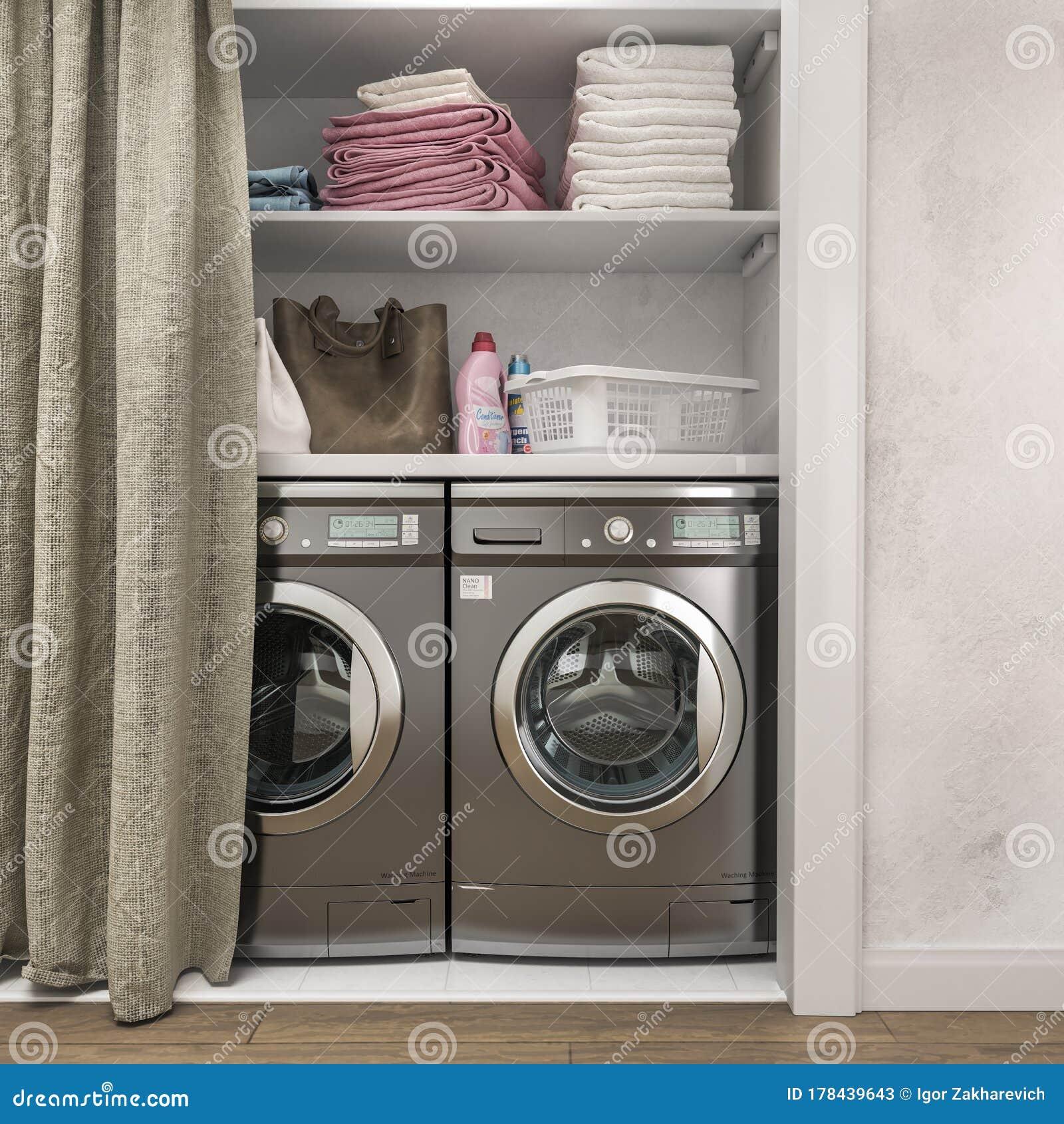 Laundry Room 3d Illustration Stock Illustration Illustration Of Curtains Blank 178439643