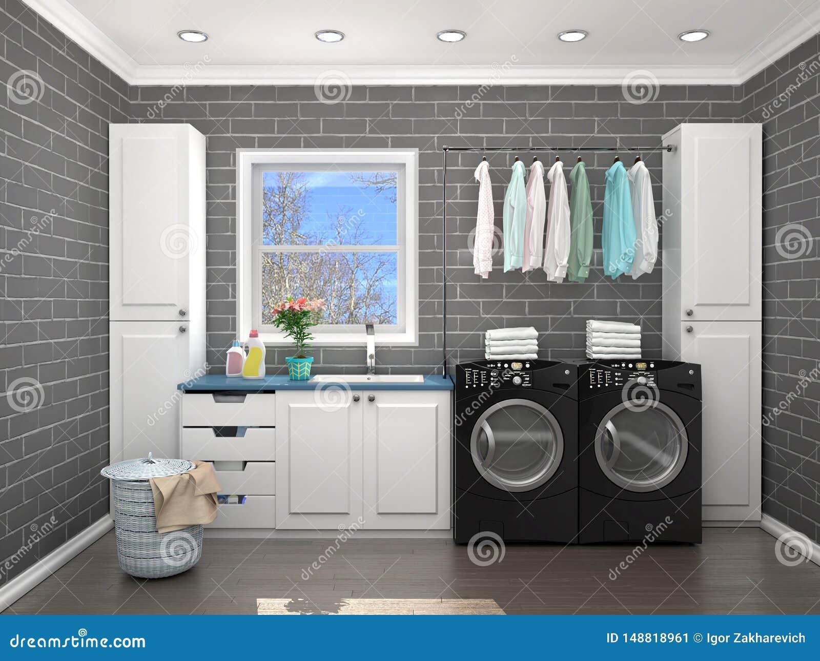 Laundry Room Design with Washing Machine. Stock Illustration ...