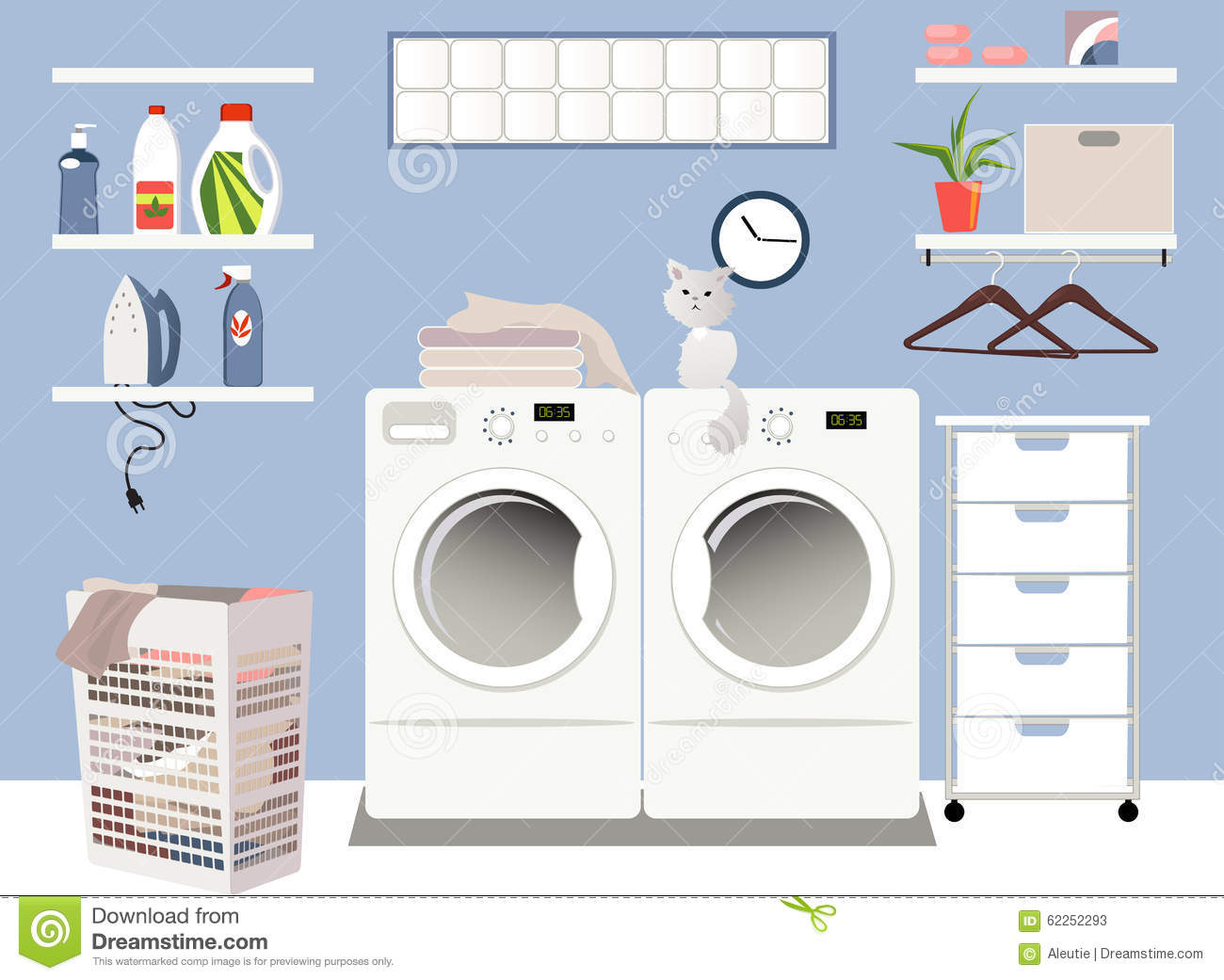 Laundry Room Cartoon Vector Cartoondealer Com 62252293