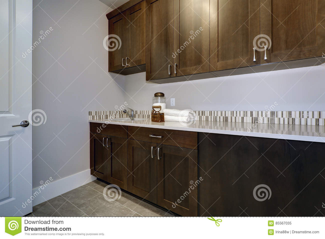 Laundry Room Interior Features Blue And Grey Walls Stock Image