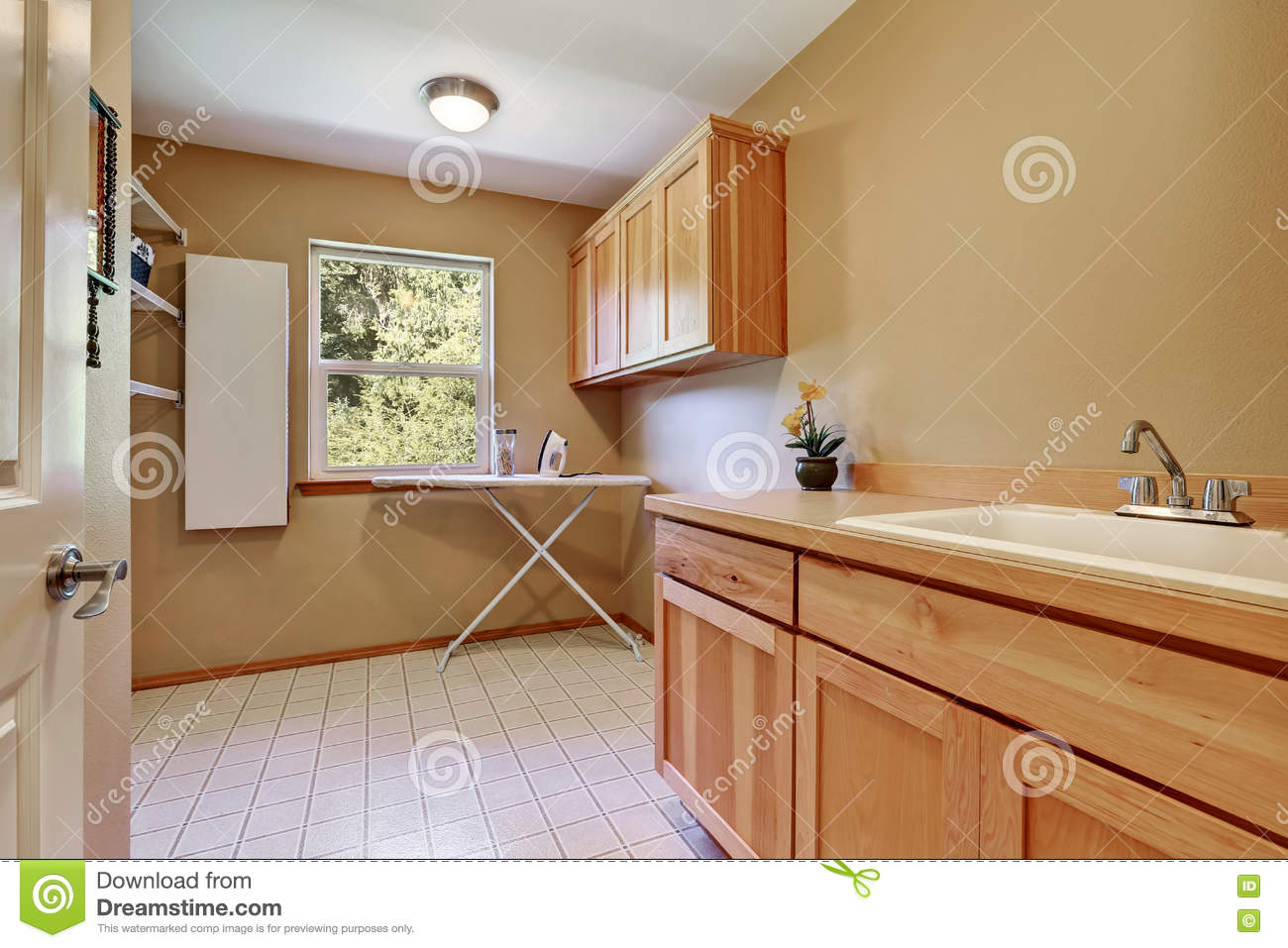 Laundry Room Interior With Vanity Cabinet Stock Photo Image Of Room Dryer 81407998