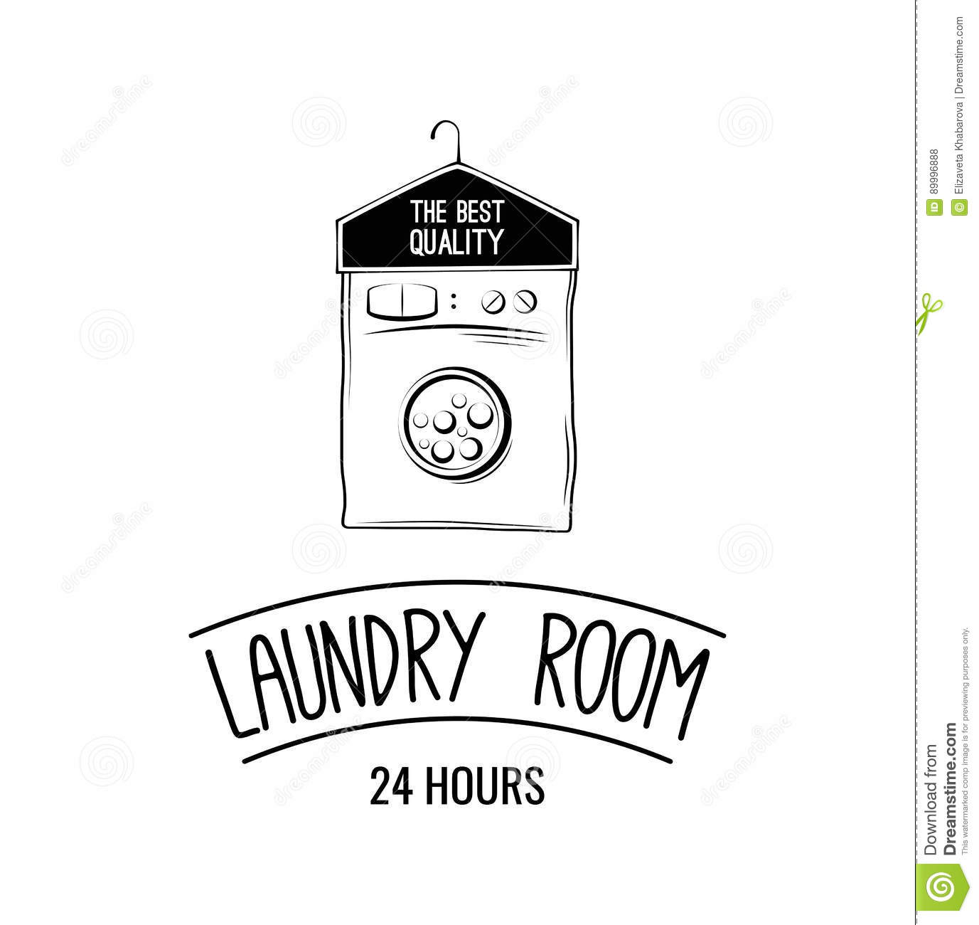 Laundry Room Label, Badge, Logo With Hanger Vector ...