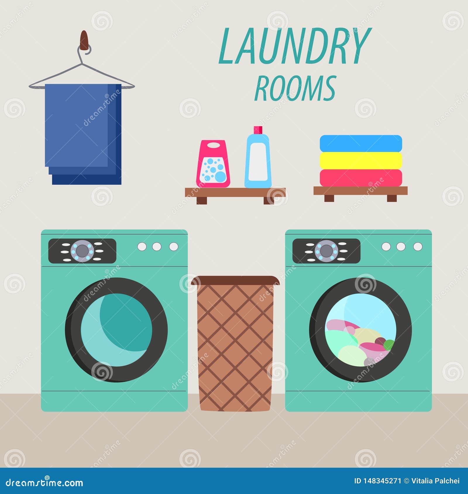 Laundry room with washing machine and laundry basket