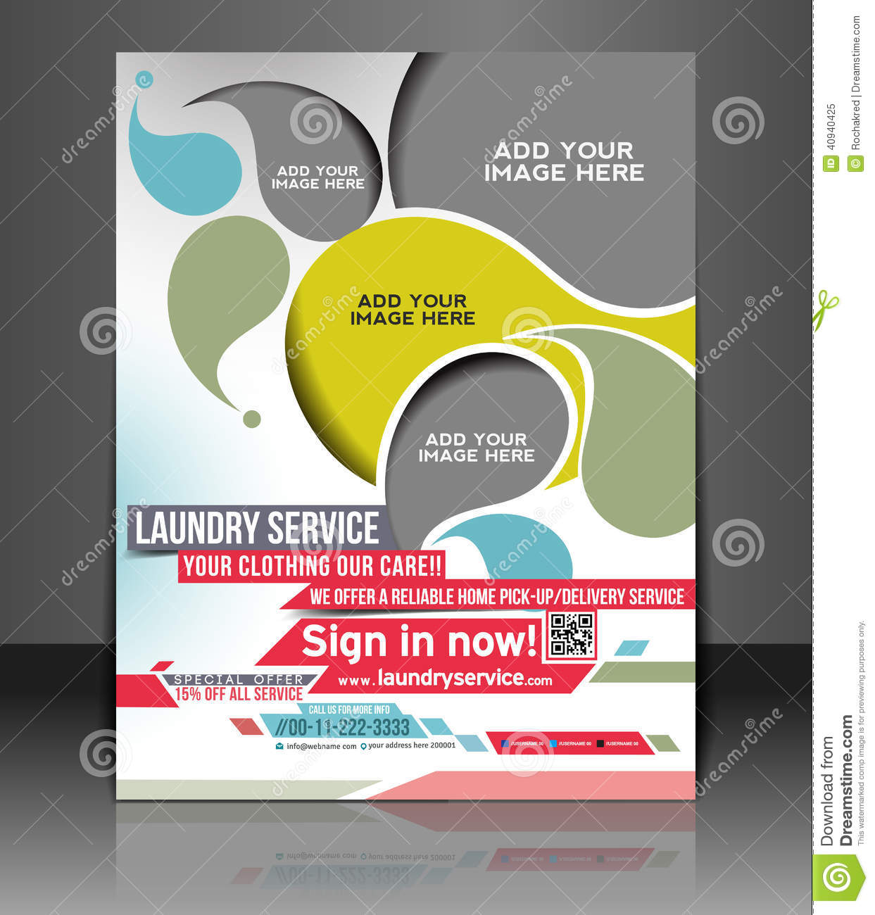 Laundry service flyer design stock vector illustration for Laundry flyers templates