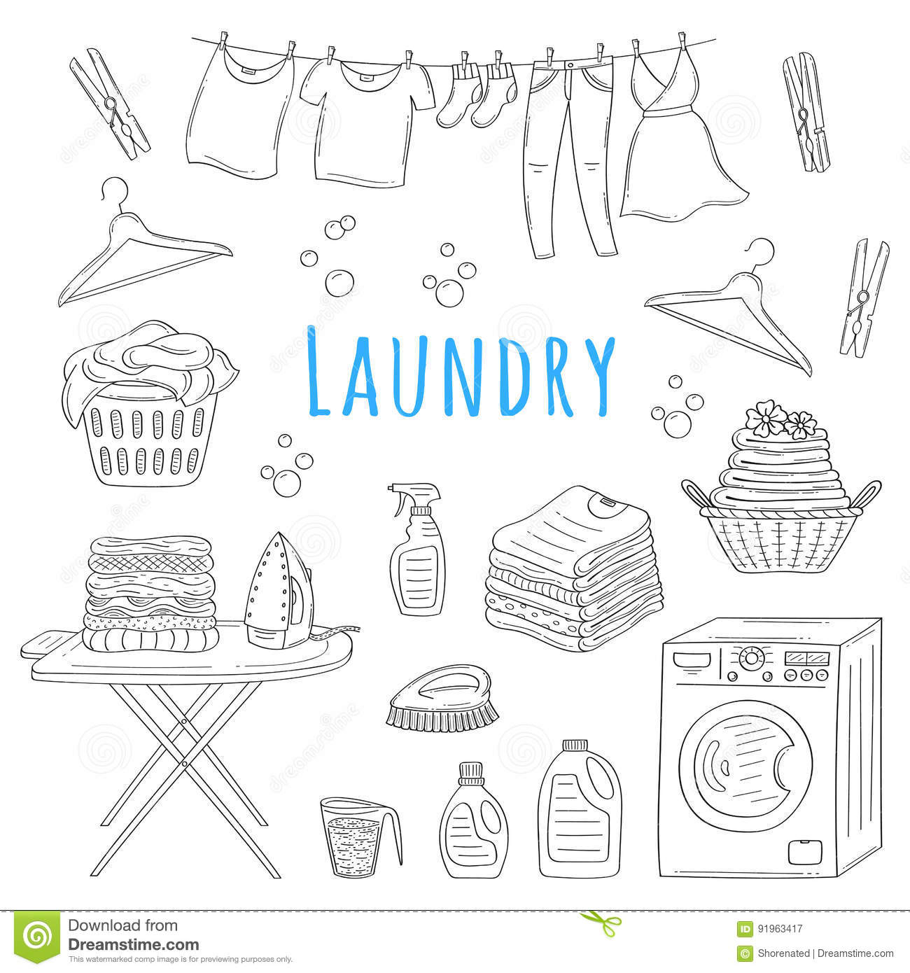 Laundry Service Hand Drawn Doodle Icons Set Vector Illustration
