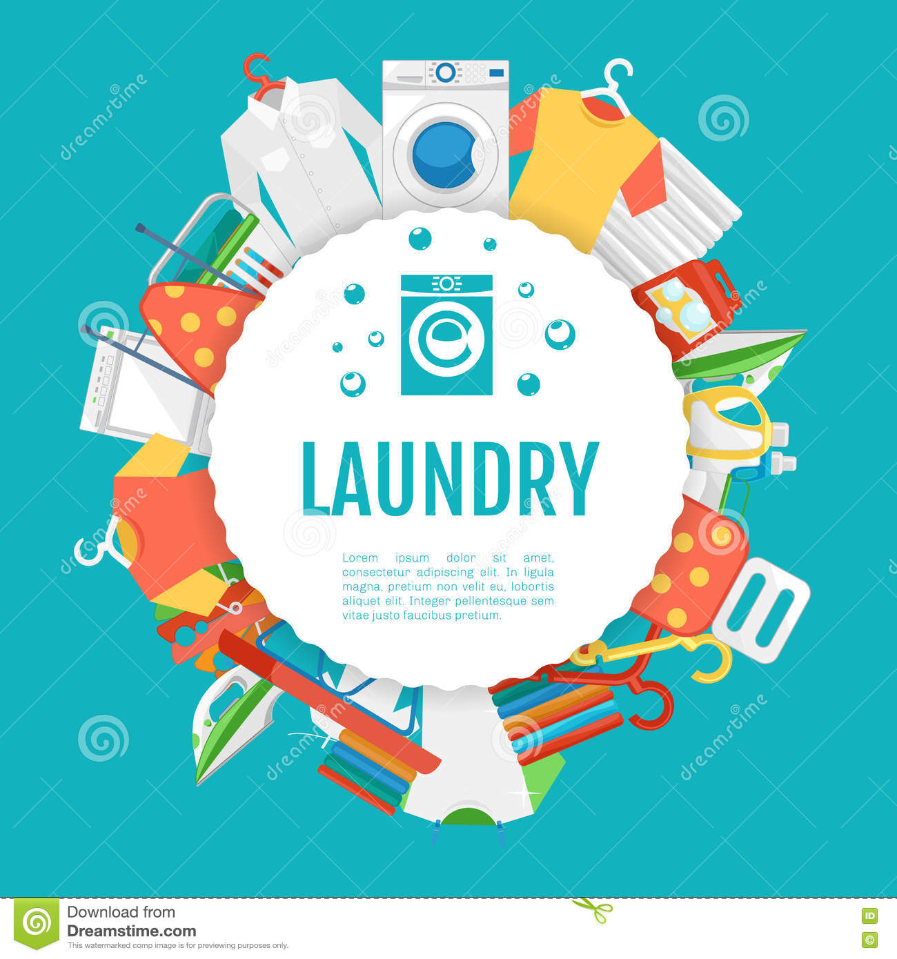 Poster design service - Laundry Service Poster Design Icons Circle Label With Text Stock Vector