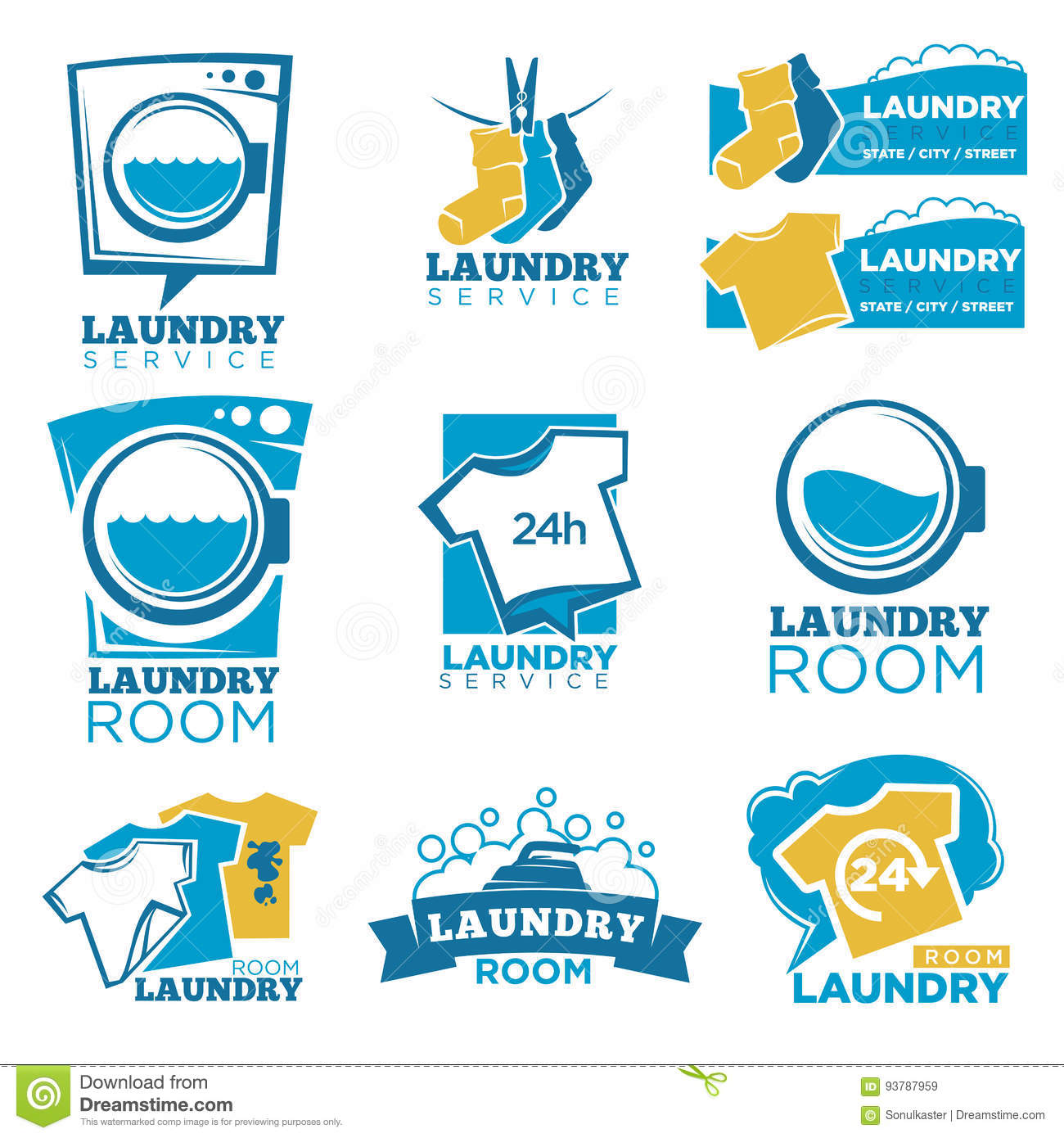 Laundry service vector template icons set of linen washing machine laundry service vector template icons set of linen washing machine and detergent biocorpaavc Gallery