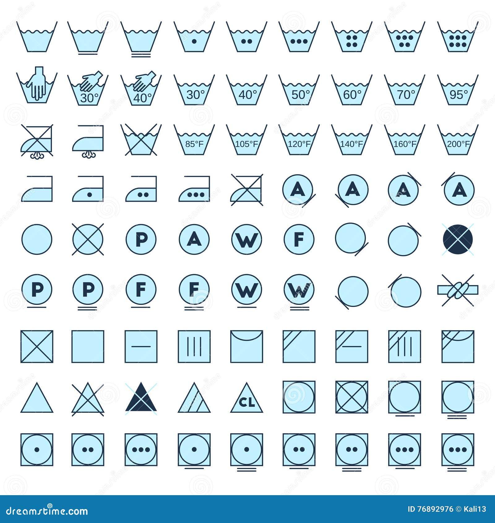 Laundry Symbols Line Design Stock Vector Illustration Of Iron