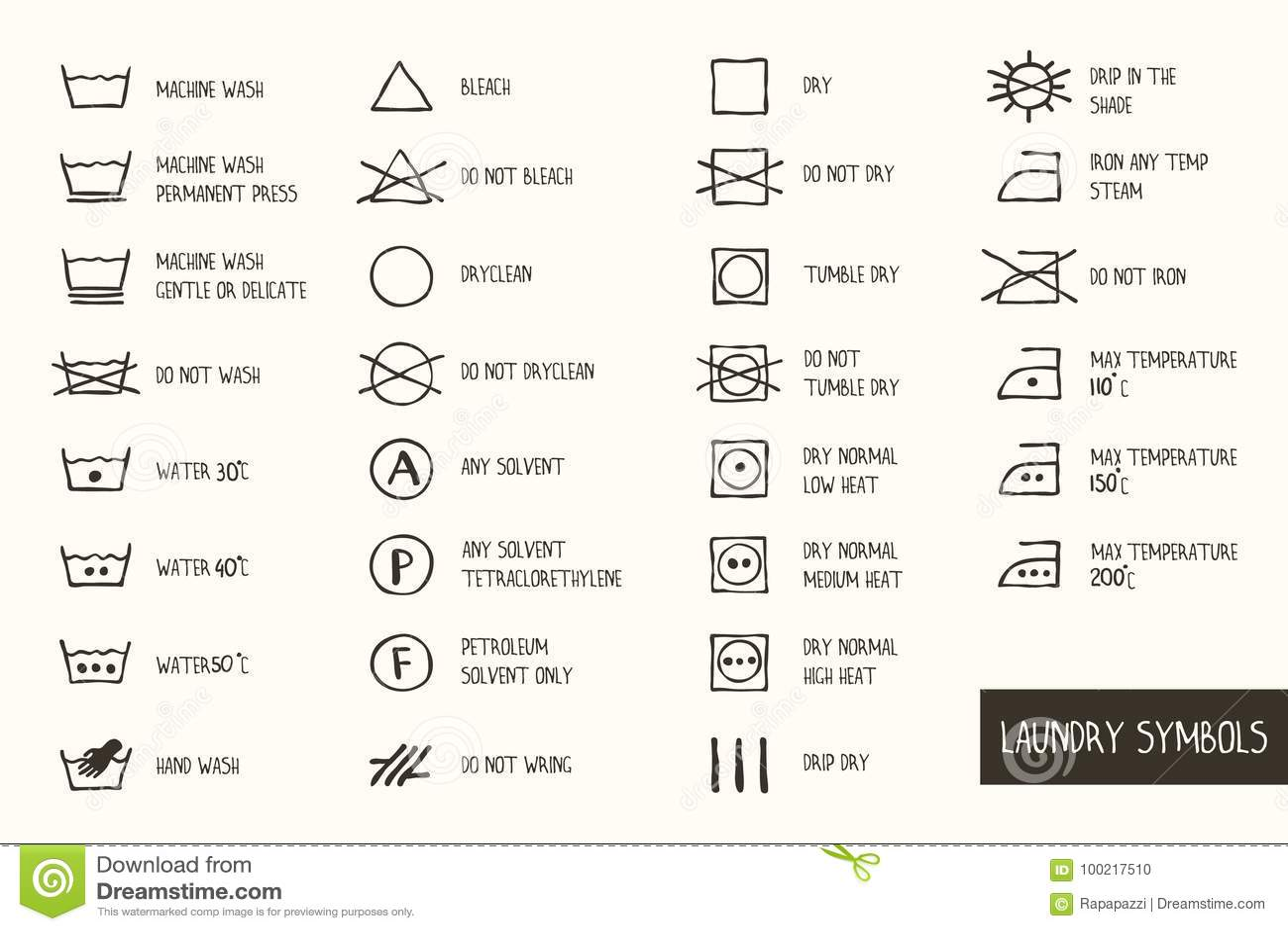 Laundry Symbols Stock Vector Illustration Of Cloth 100217510