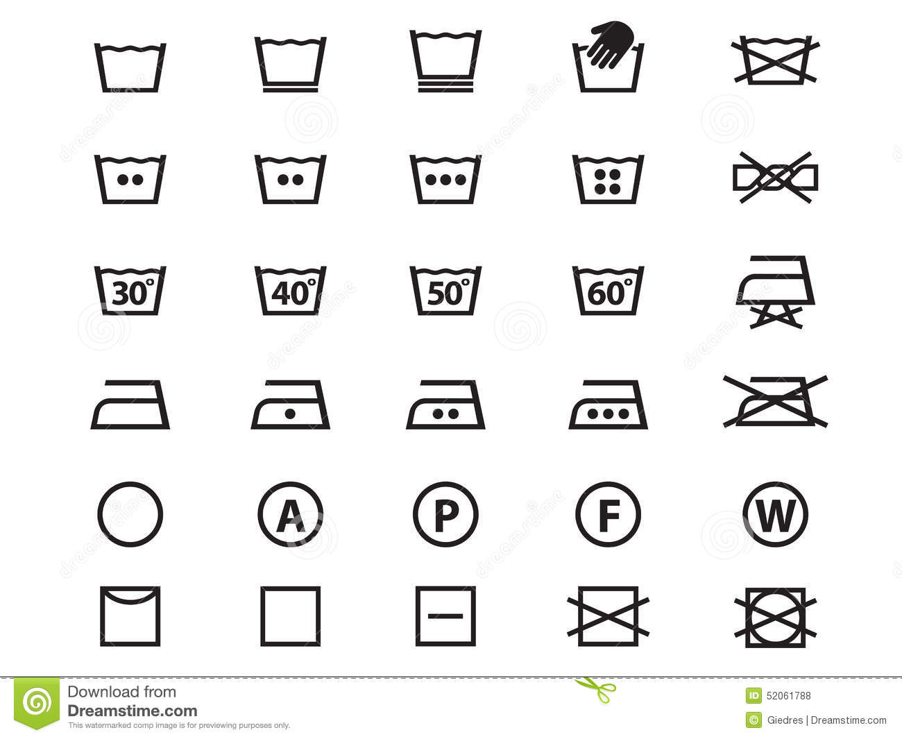 Laundry Symbols Stock Vector Image 52061788
