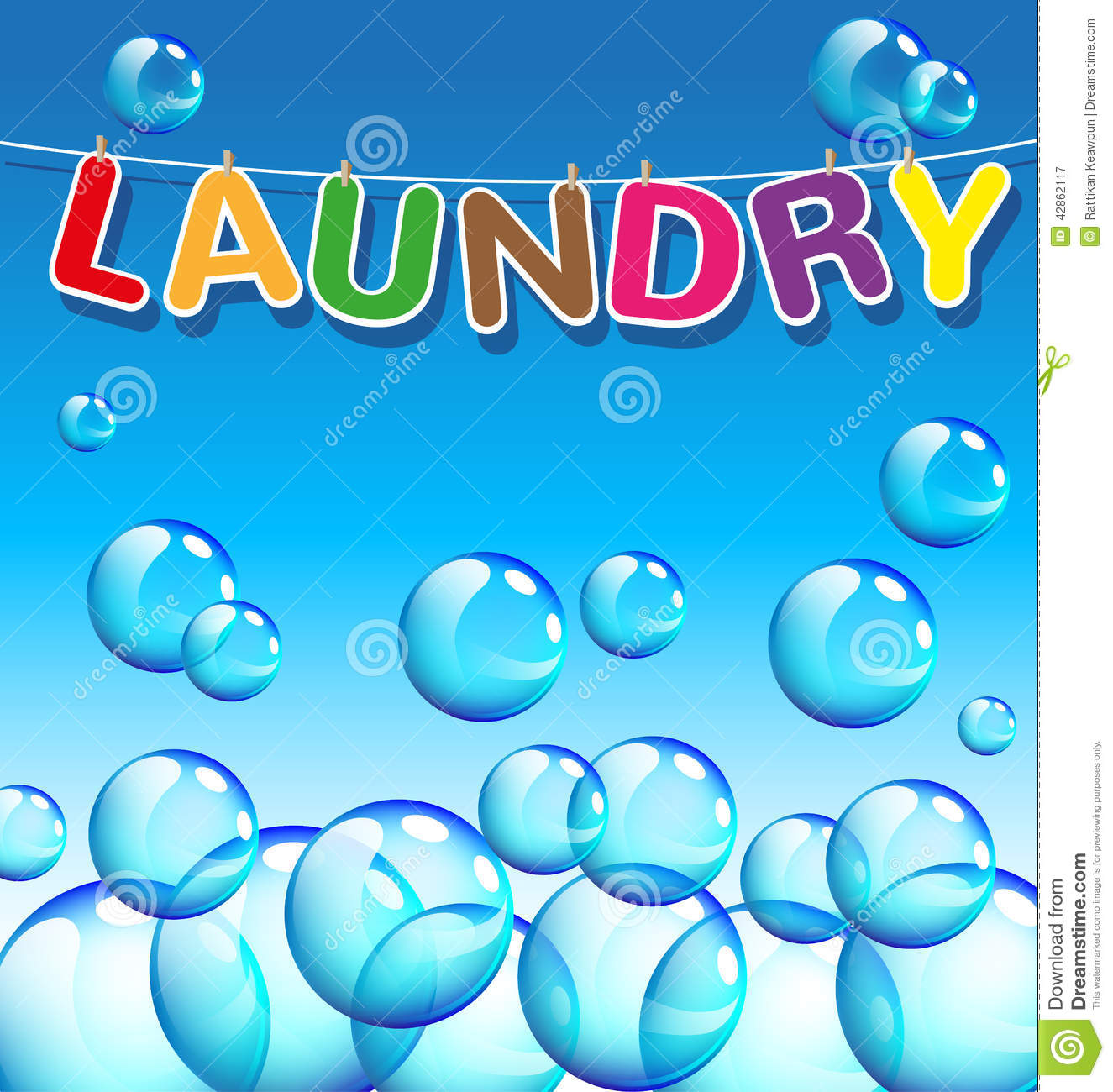 Laundry Text And Background Of Bubbles Stock Vector - Image: 42862117