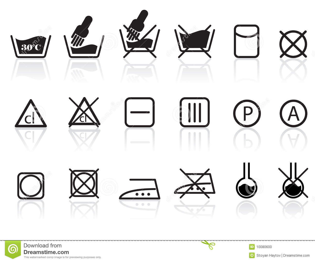 Laundry And Textile Care Symbols Stock Vector Illustration Of
