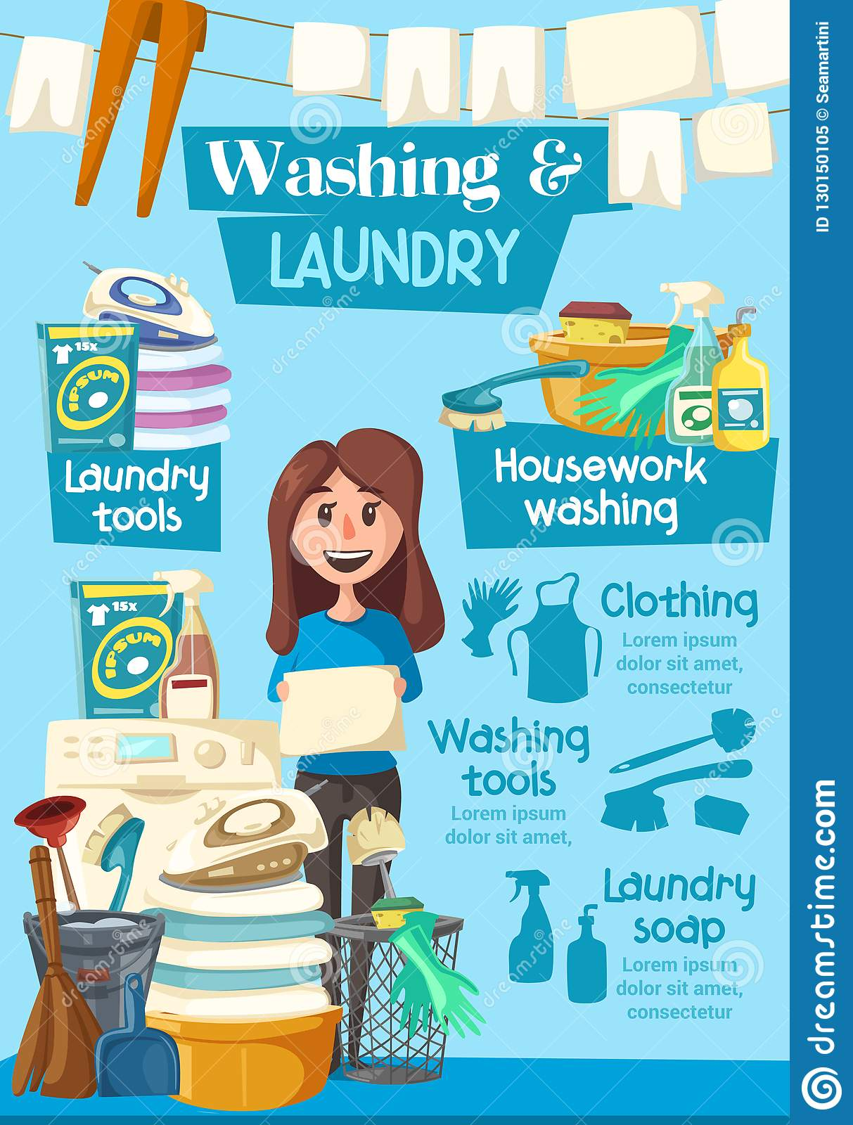 Laundry And Washing Home Service Vector Poster Stock ...