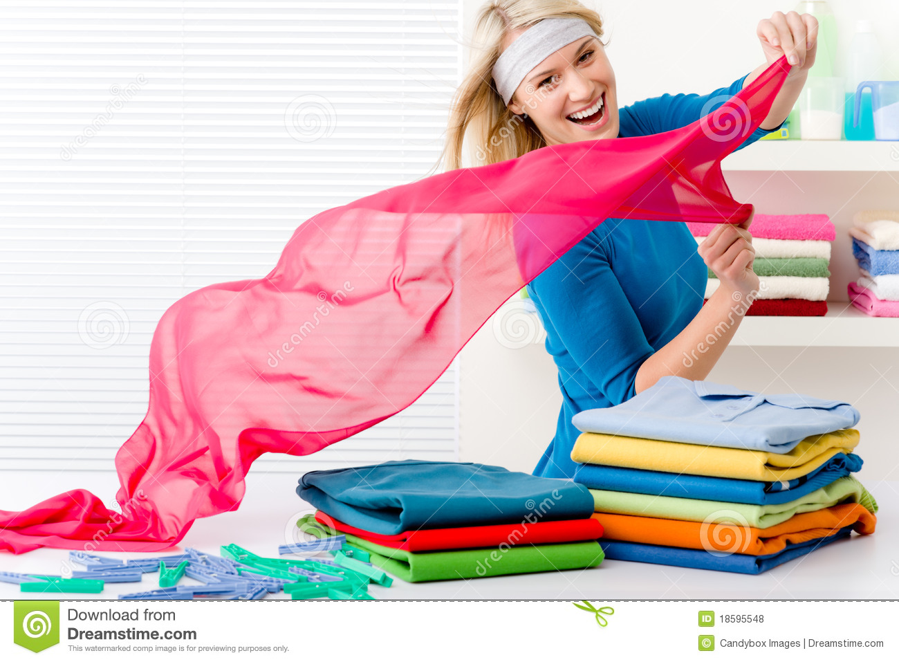 Laundry - Woman Folding Clothes Royalty Free Stock Photos - Image ...