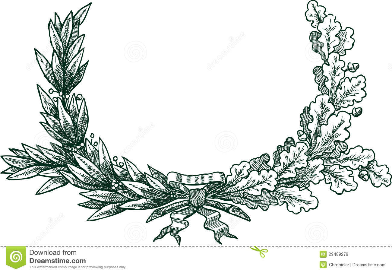 Laurel And Oak Branches Stock Vector Illustration Of Decoration