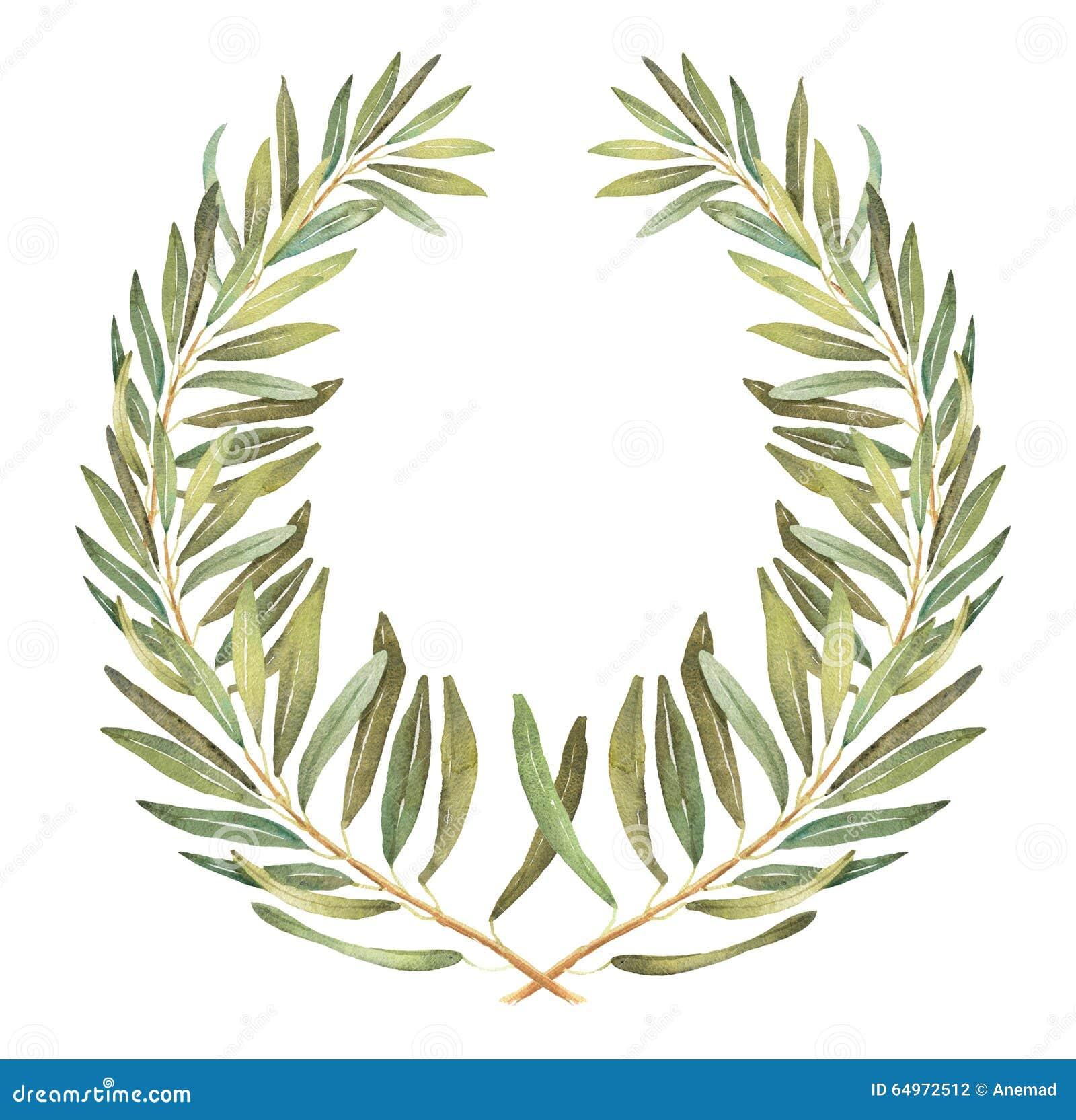 Laurel Olive Watercolor Wreath Stock Illustration - Image ...