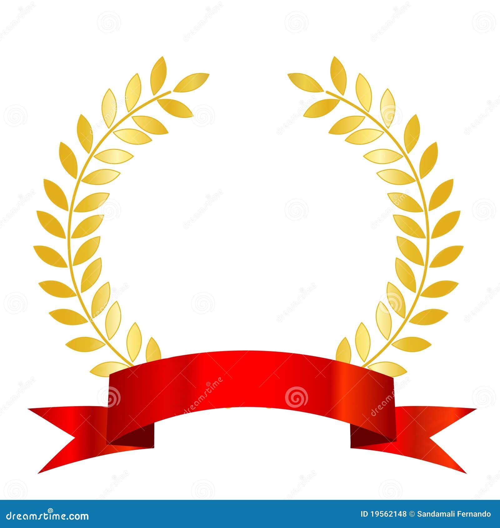 Laurel rojo de la cinta y del oro