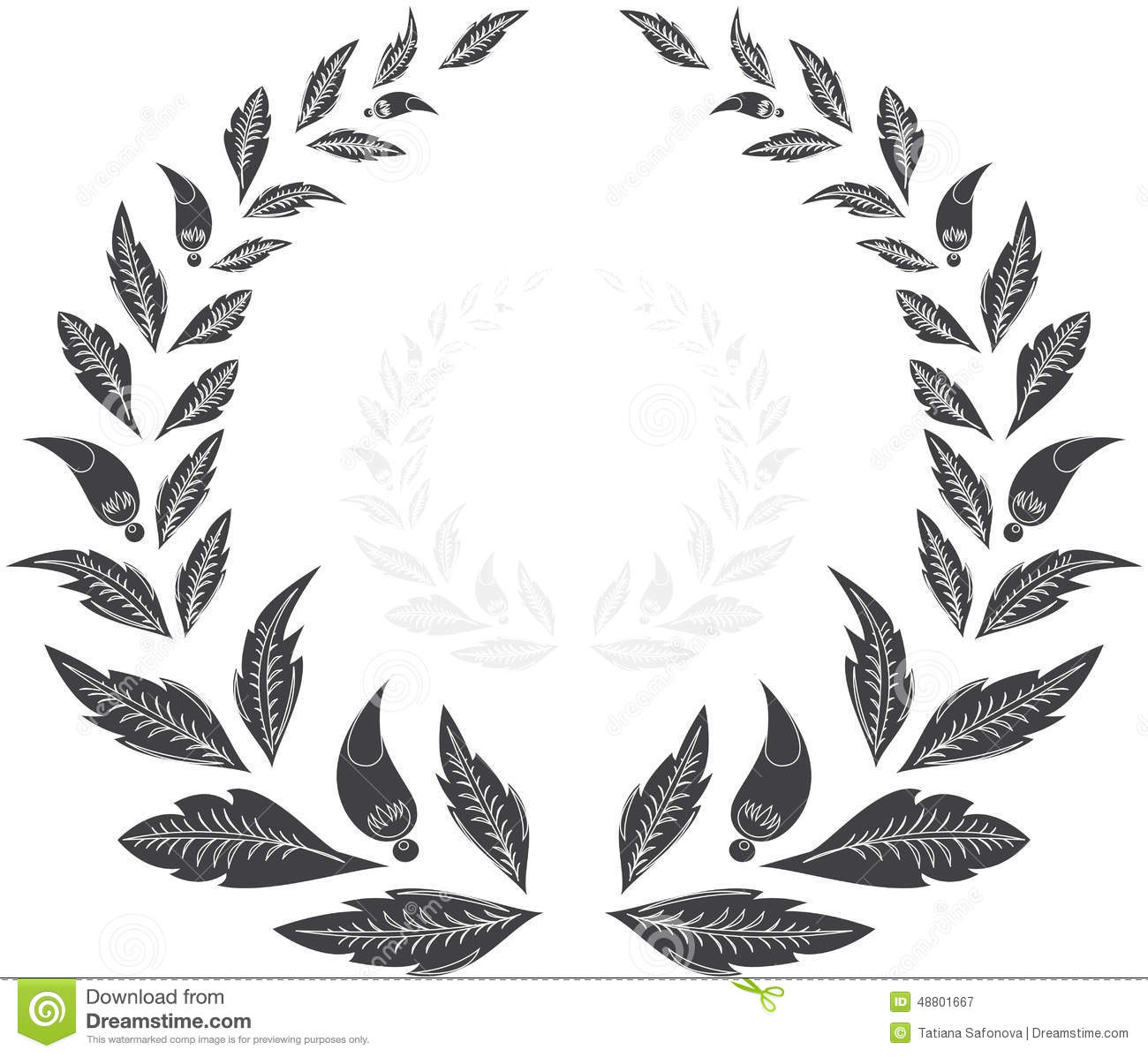 Laurel wreath award stock vector image 48801667 for Laurel leaf crown template