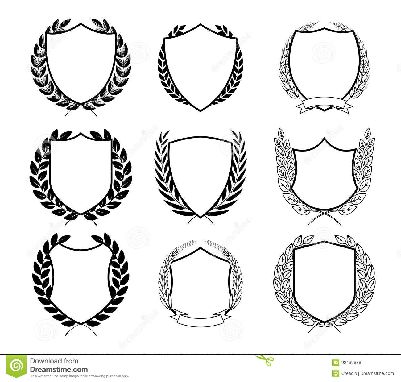 Laurel Wreath Badges Vector Template For Awards Quality Mark Diplomas And Certificates