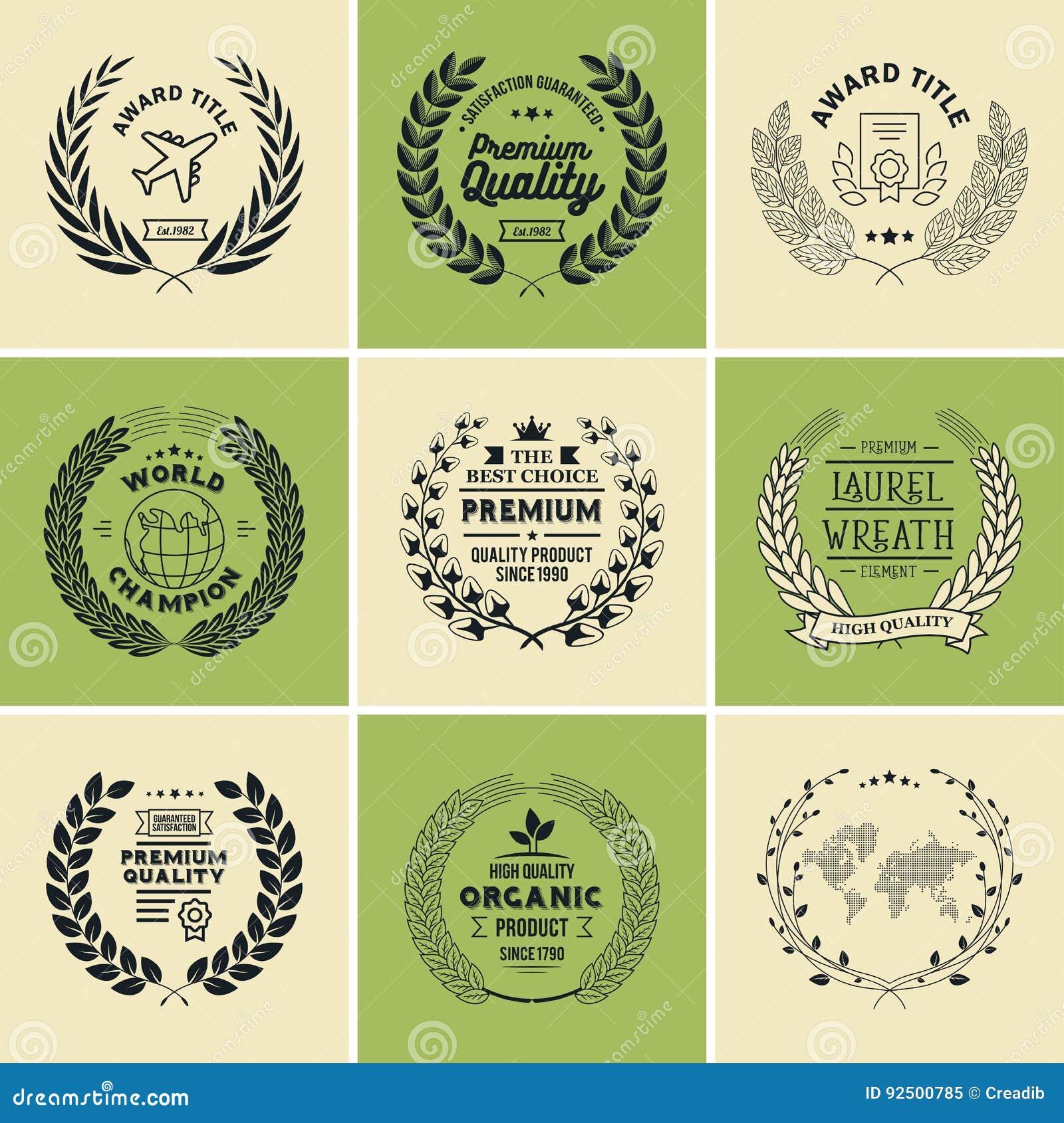 laurel wreath badges vector template for awards quality mark