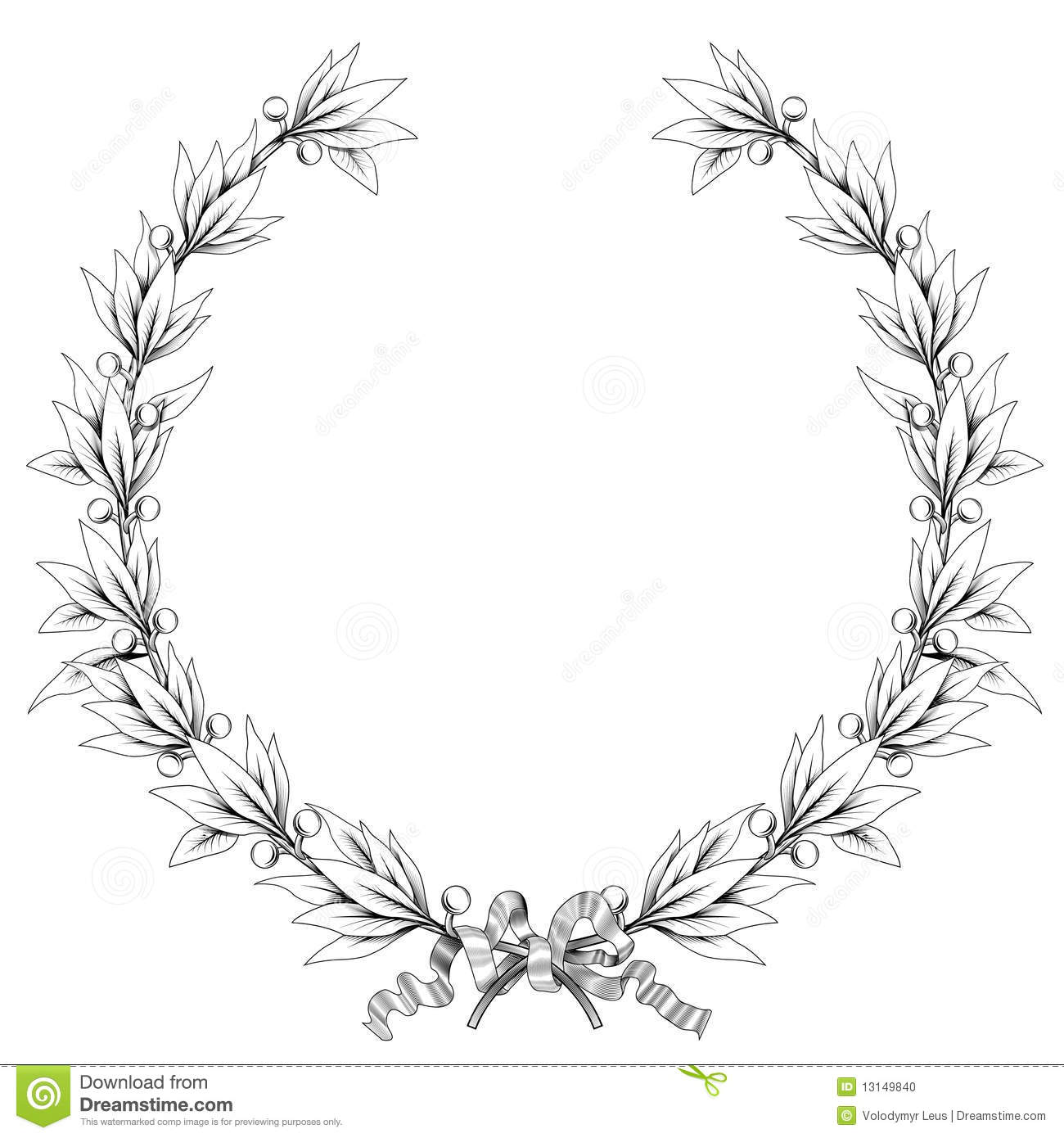 laurel wreath  black and white colors  stock photo