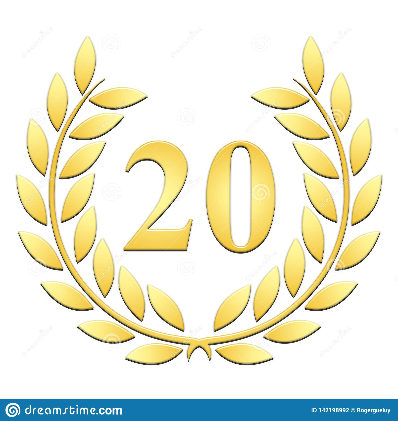 Laurel wreath Golden Laurel wreath for 20th anniversary on a white backgroundanniversary on a white background